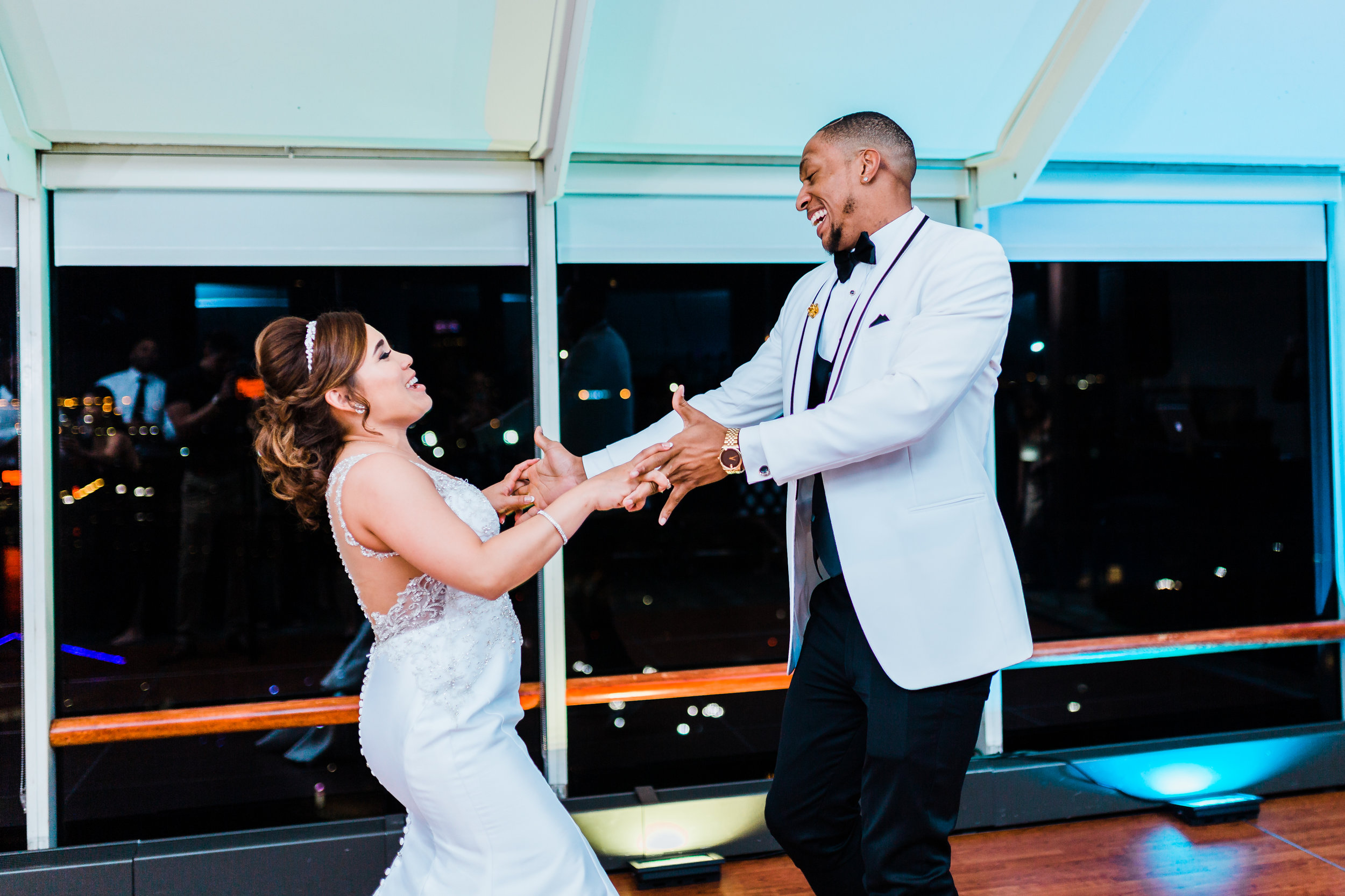 bride and groom share first dance in baltimore md