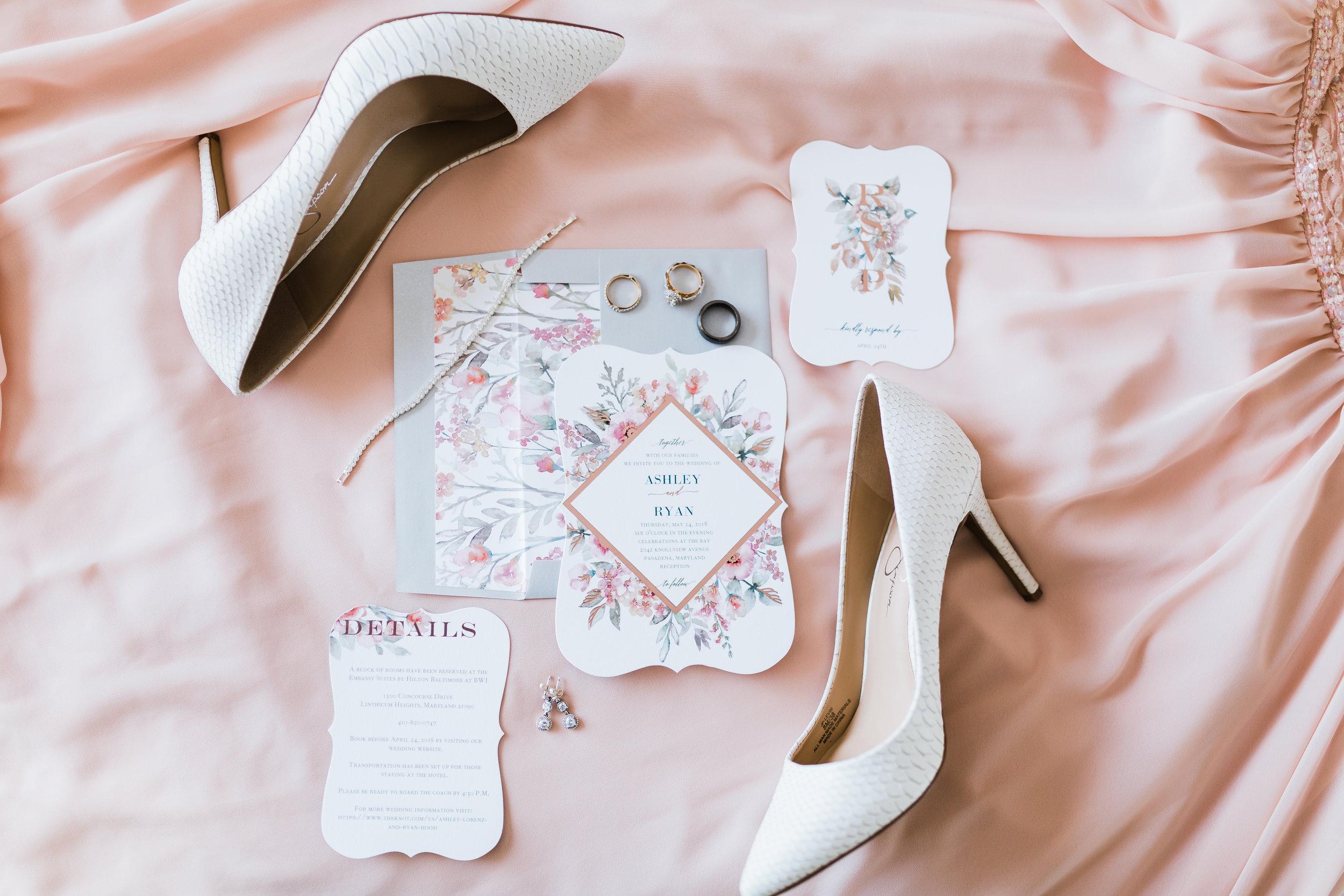 blush pink wedding - bridal details - md wedding photographer