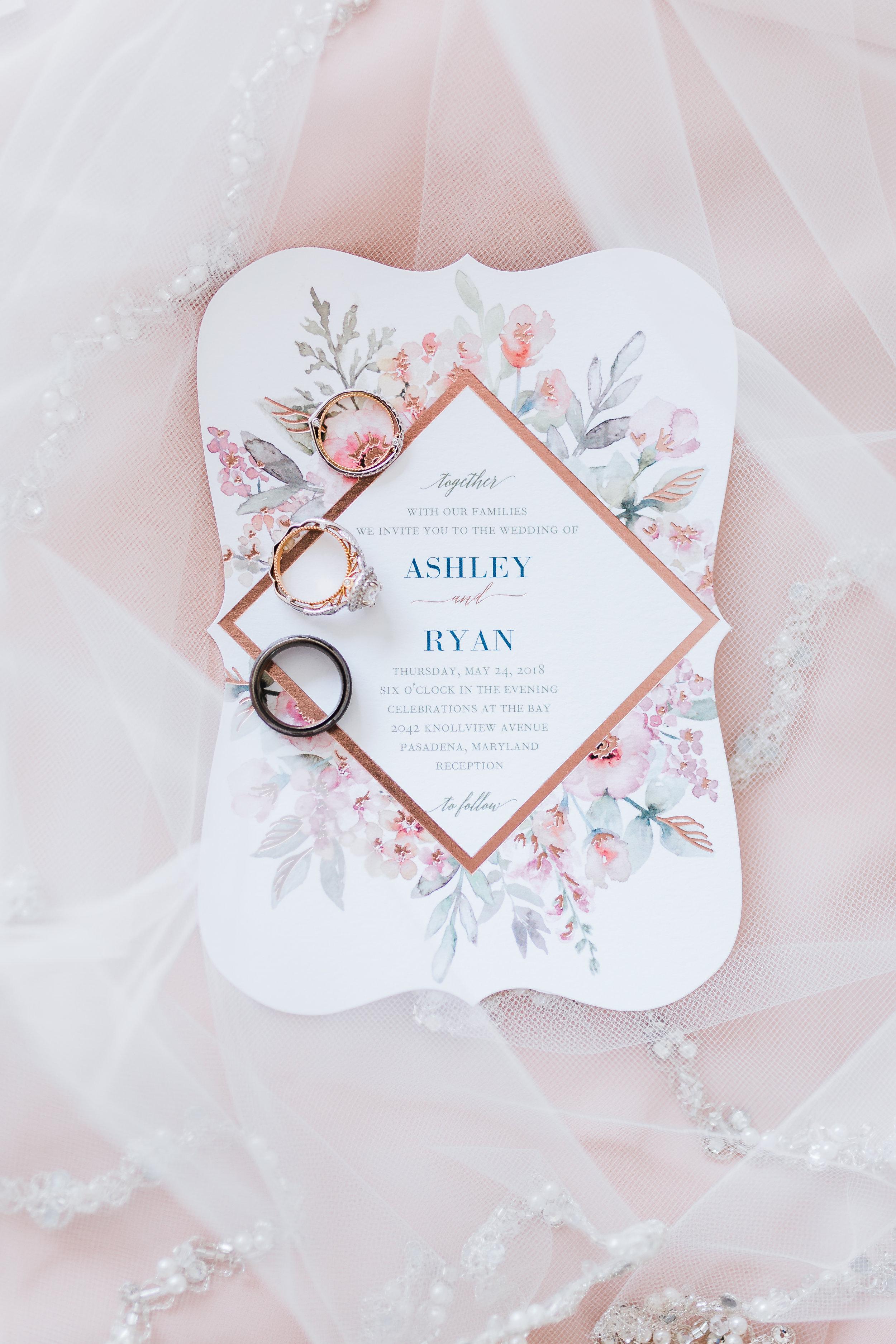 wedding invitation and rings for pasadena md wedding