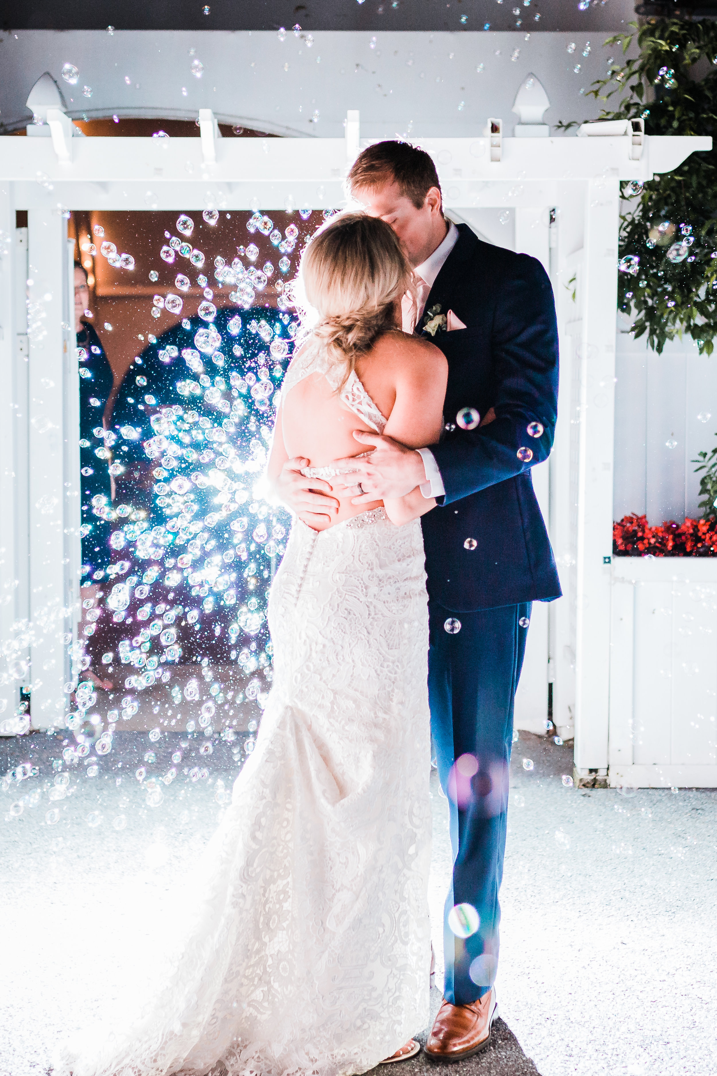 night time bubble exit at pasadena maryland wedding venue - top maryland wedding photographer - husband and wife team