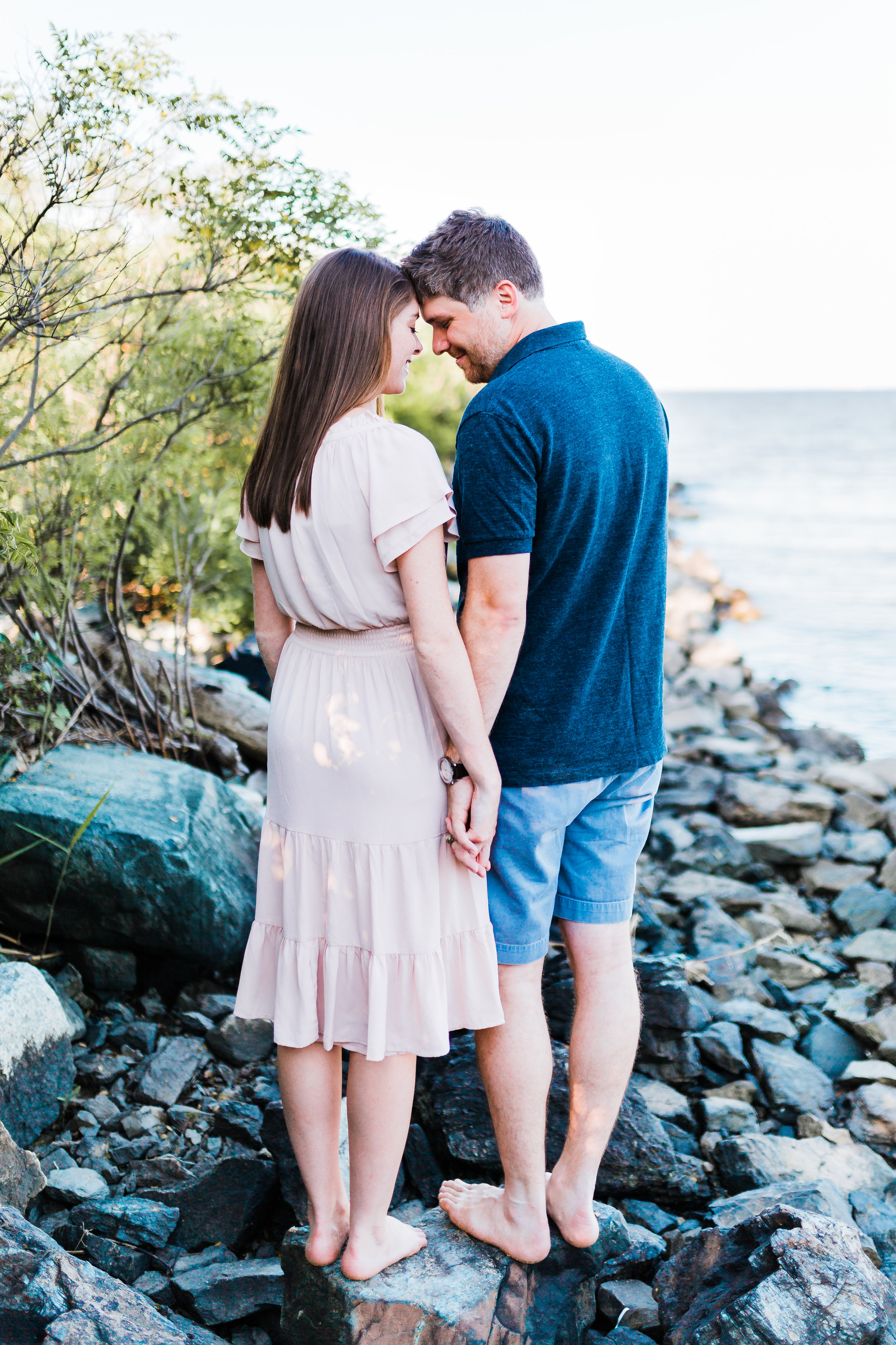 adorable bride and groom at their bayside beach engagement session in maryland - pasadena engagement and wedding photographer