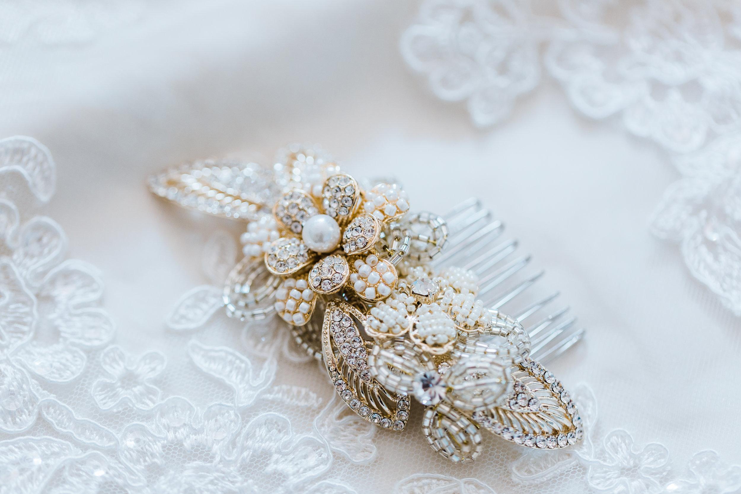 brides hair piece for her maryland wedding - disney inspo - top md wedding photographer