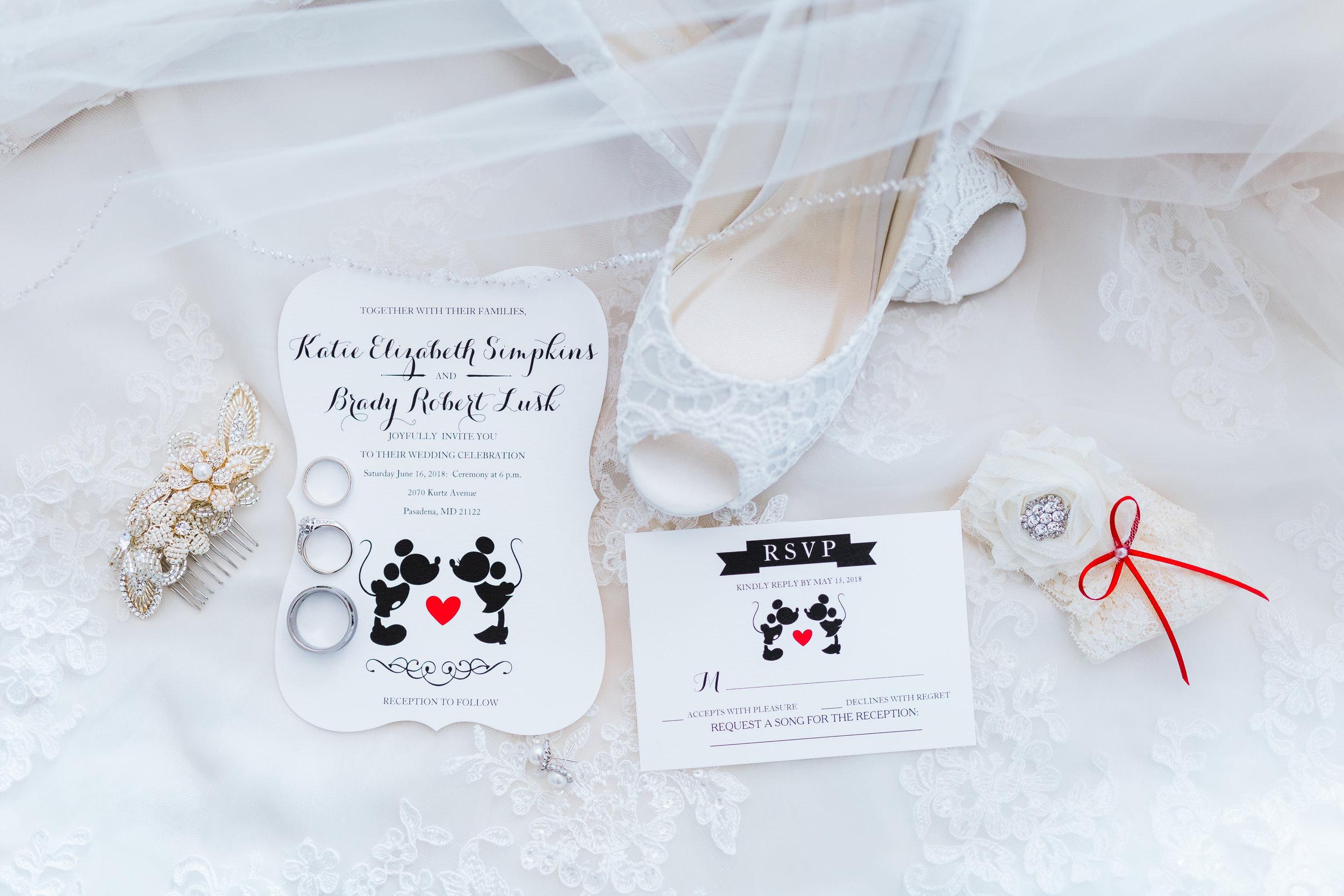 disney inspired wedding in pasadena maryland - wedding invitation suite - bridal details