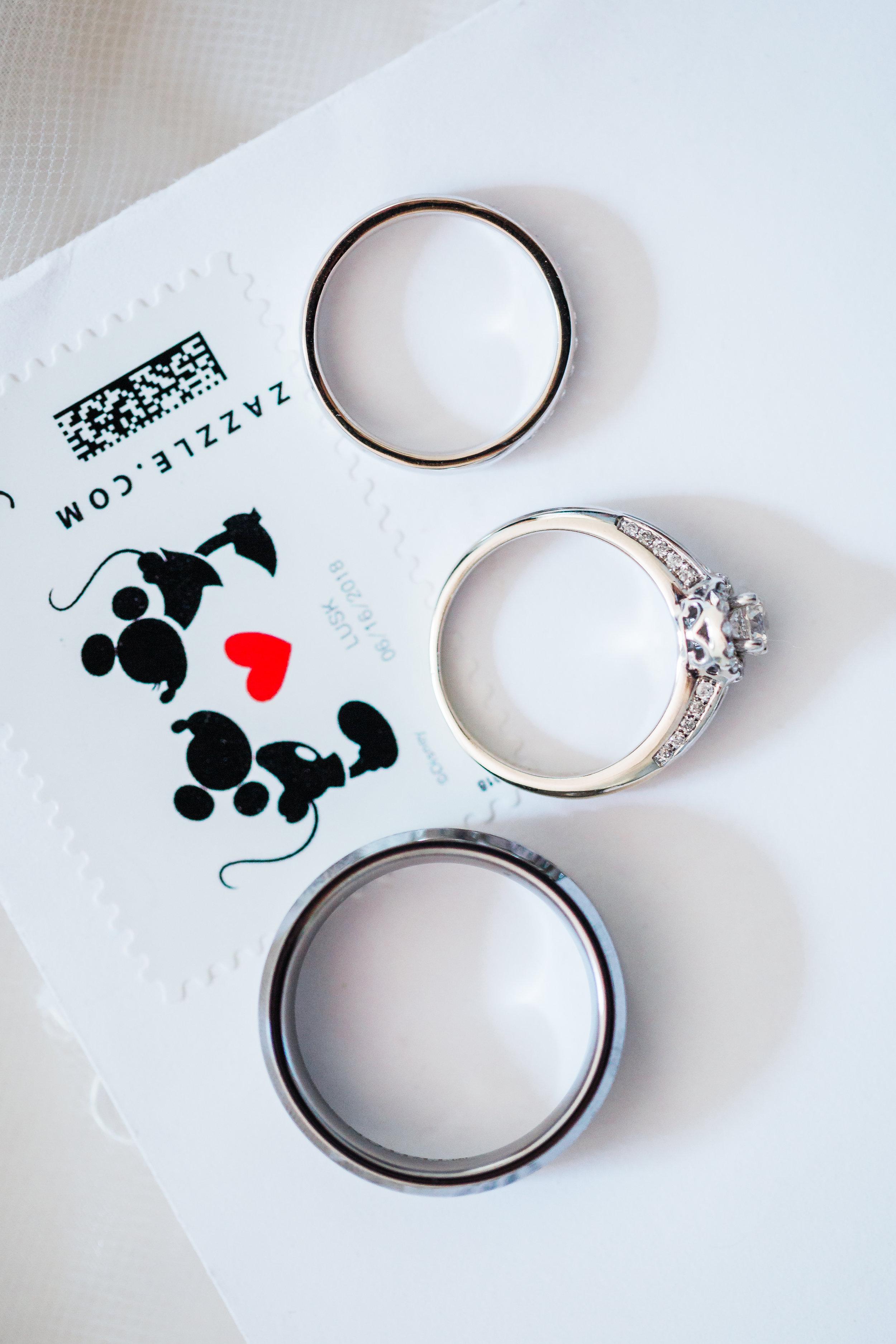 wedding rings and bridal details of disney wedding - maryland wedding photographer and cinematographer