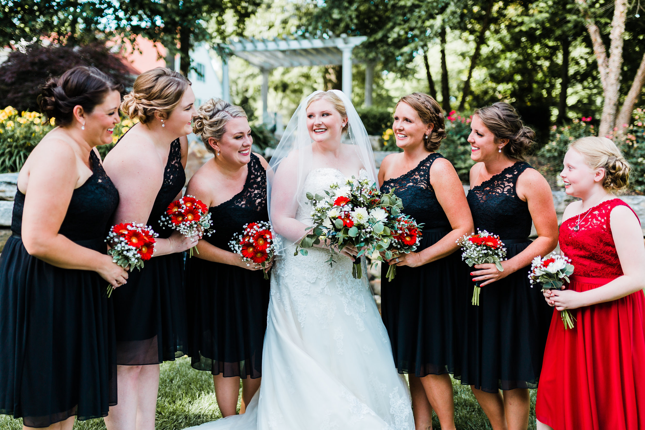 red, white, and black wedding - bride and bridesmaids photos - black bridesmaids dresses - disney inspired wedding - maryland wedding photographer