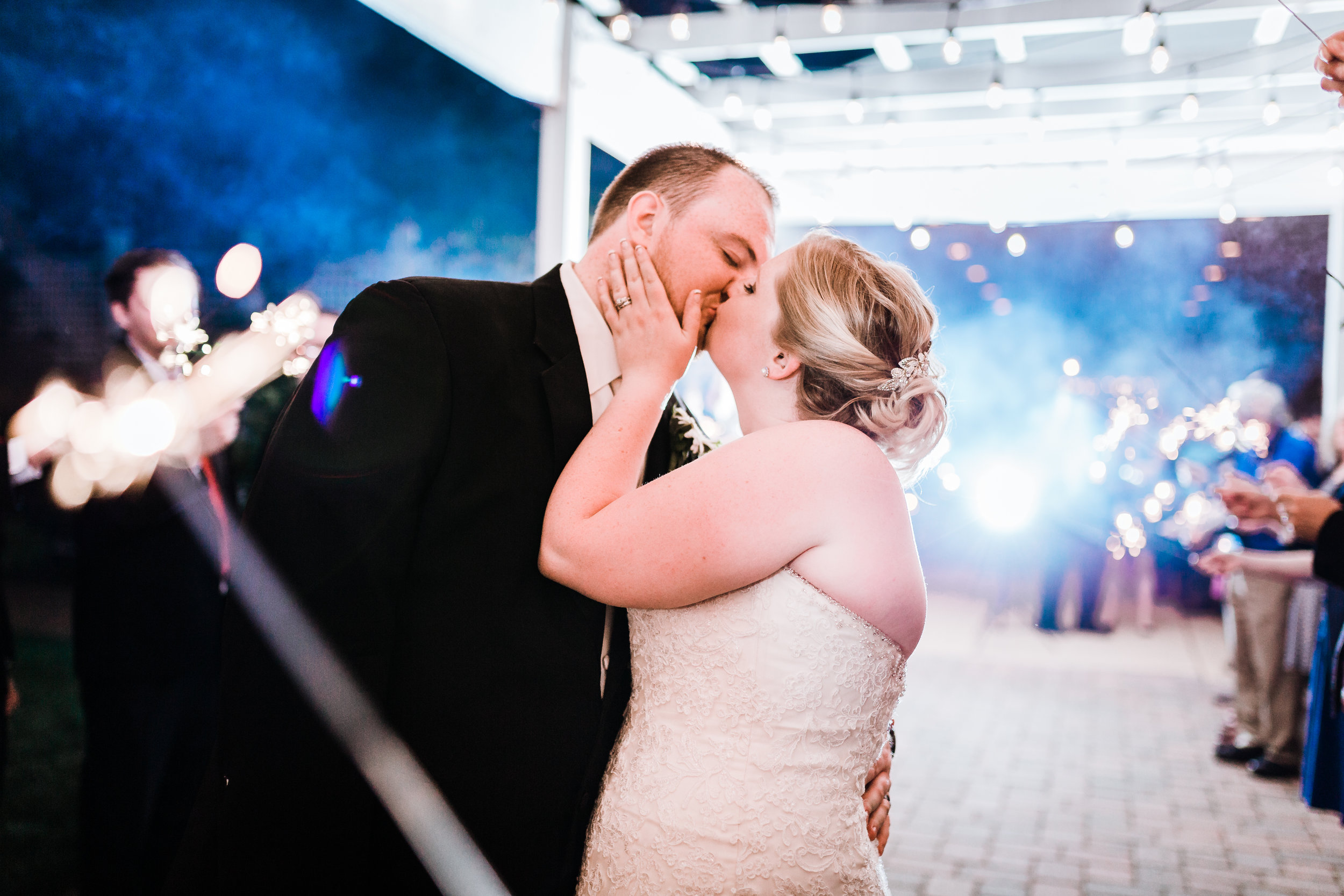 romantic sparkler exit at kurtz's beach in pasadena, maryland - best maryland wedding photographer and cinematographer - husband and wife team