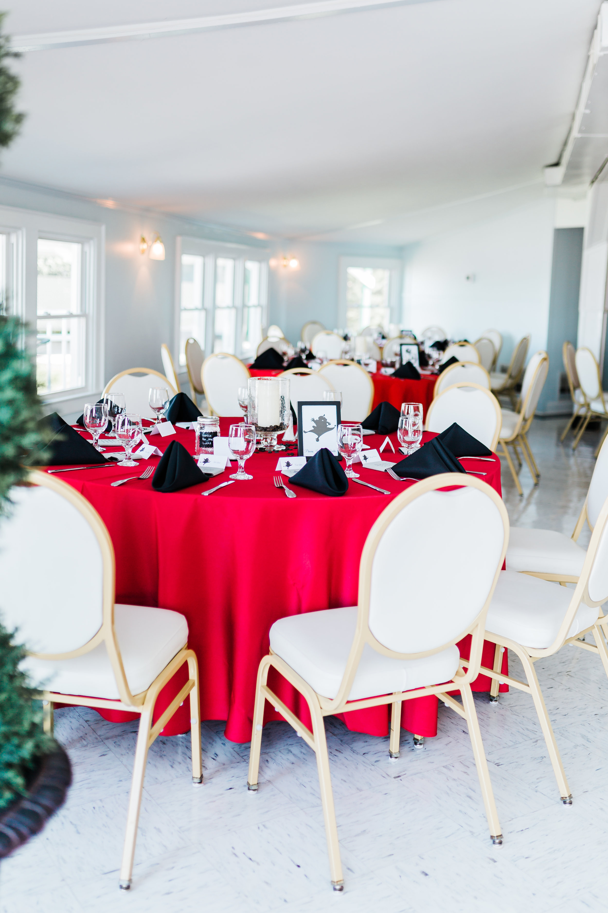 red wedding reception inspiration - disney inspo - best maryland wedding photographer and videographer - husband and wife team