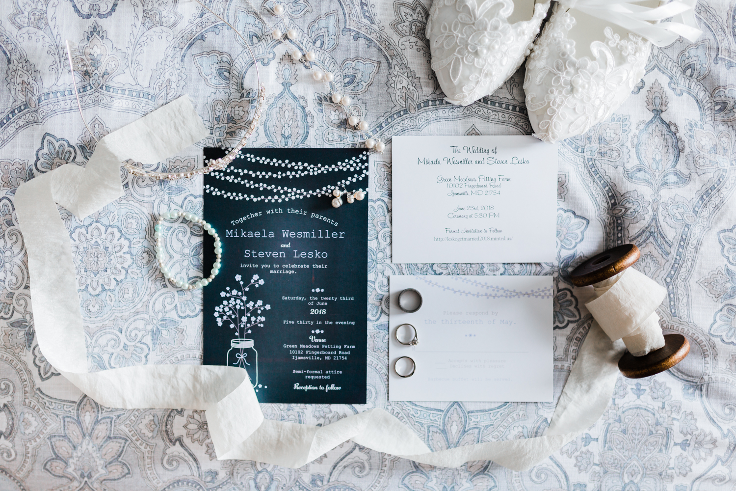 bridal details and invitation suite - maryland photographer