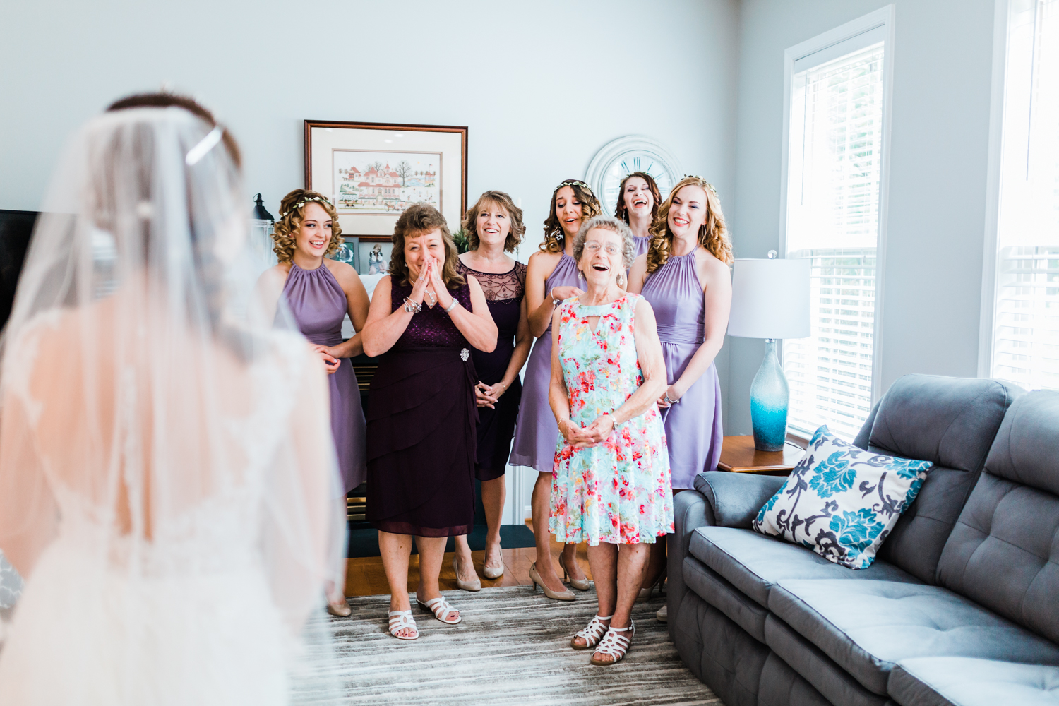 bridesmaids reaction to seeing their friend for the first time