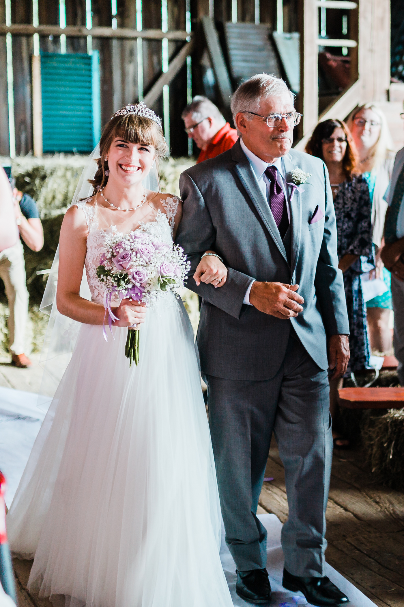 bride walking down the aisle with her proud father - maryland wedding photographer