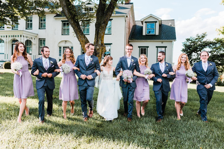 fun bridal party photo ideas - purple and gray wedding - maryland farm wedding