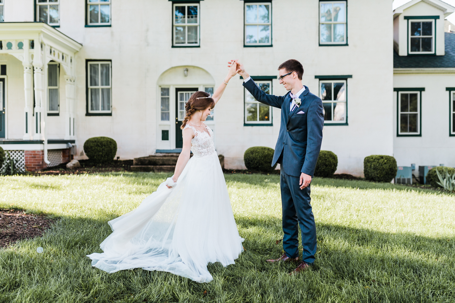 bride and groom dancing together with beautiful fairytale dress - maryland wedding venue