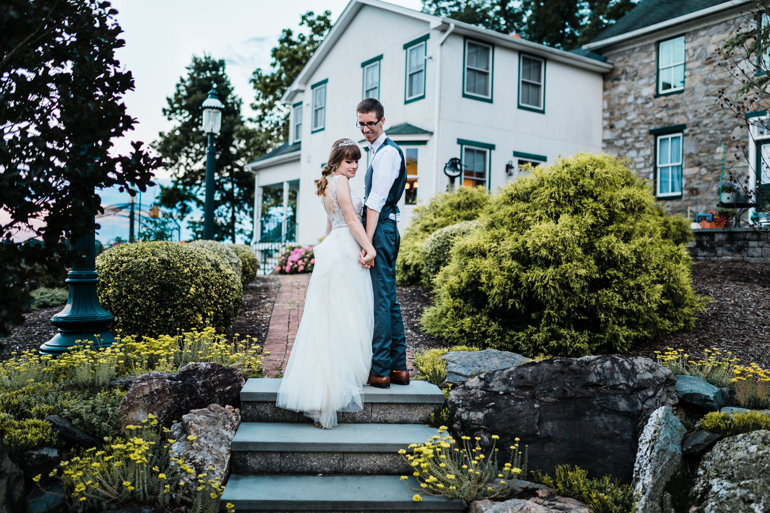 bride and groom at golden hour - best maryland wedding photographer and cinematographer
