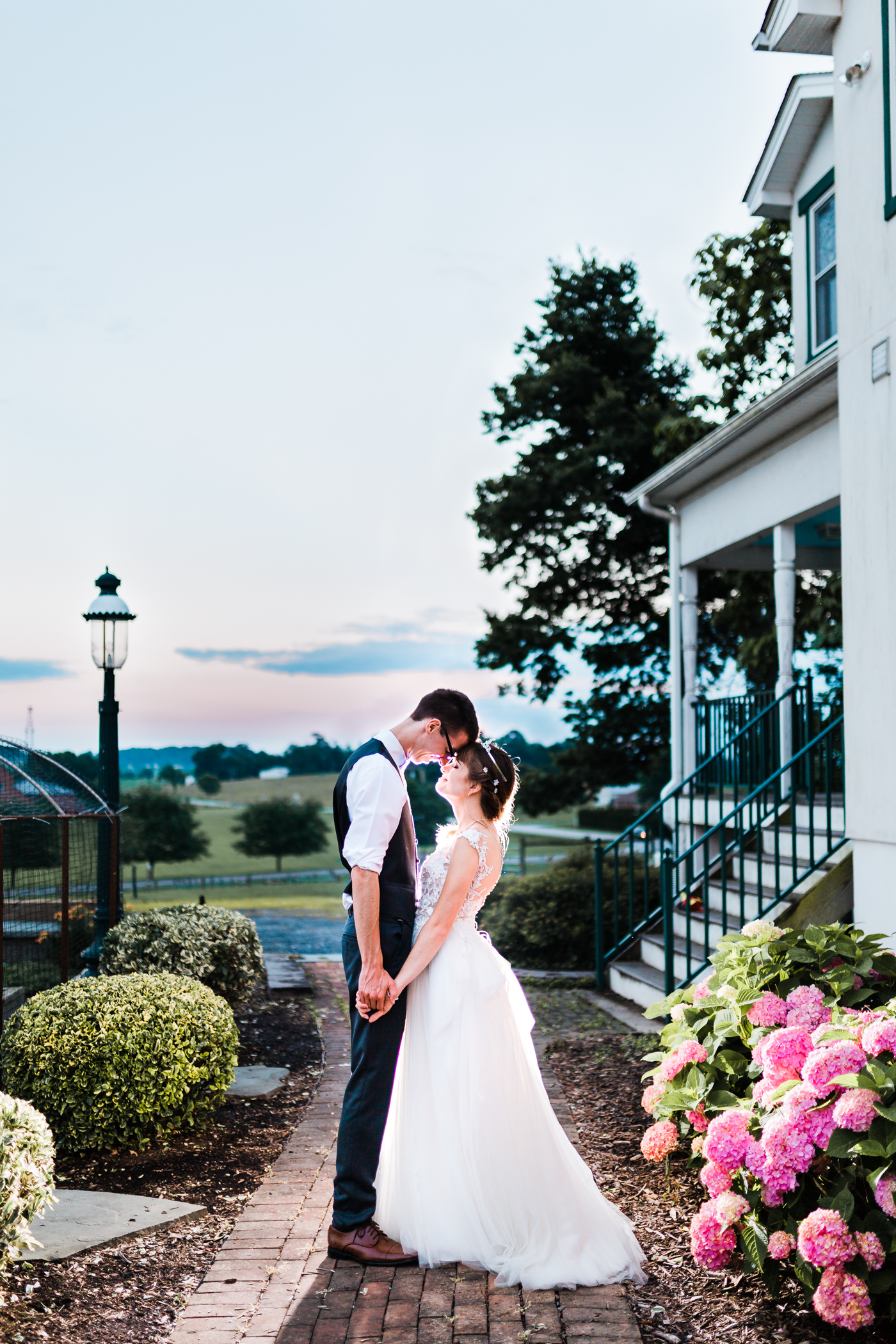 colorful rustic wedding - romantic bride and groom photos - night photography - maryland