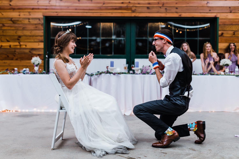 groom after he got his bride's garter - md wedding venue