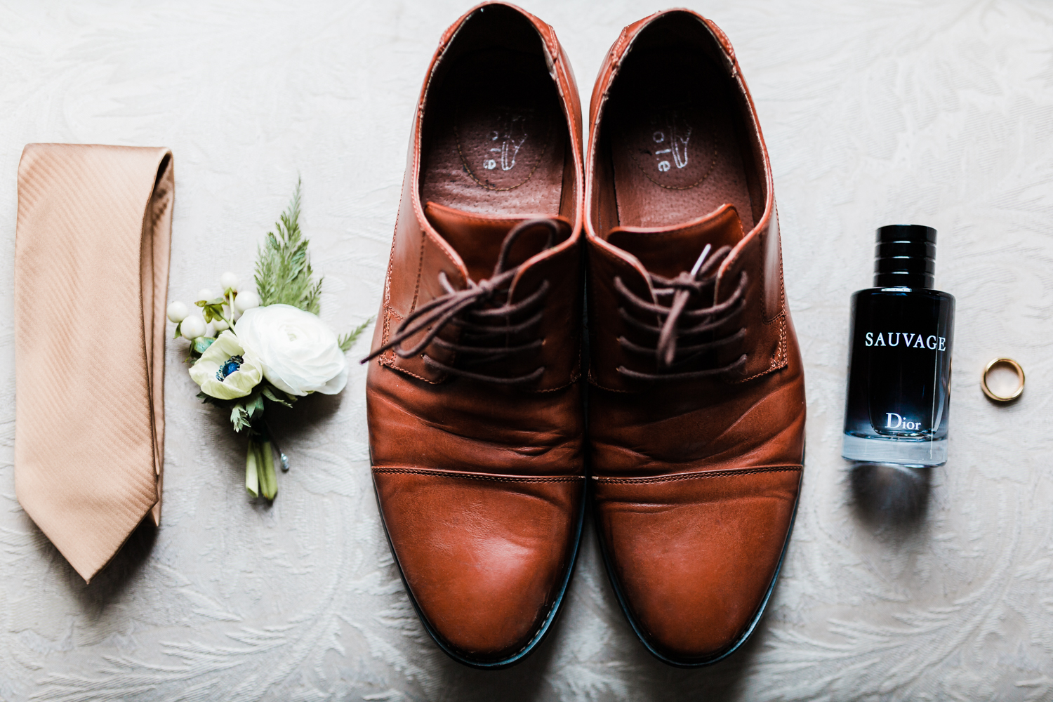 grooms shoes, tie, cologne, ring and boutonniere - groom details - md wedding photographer and videographer