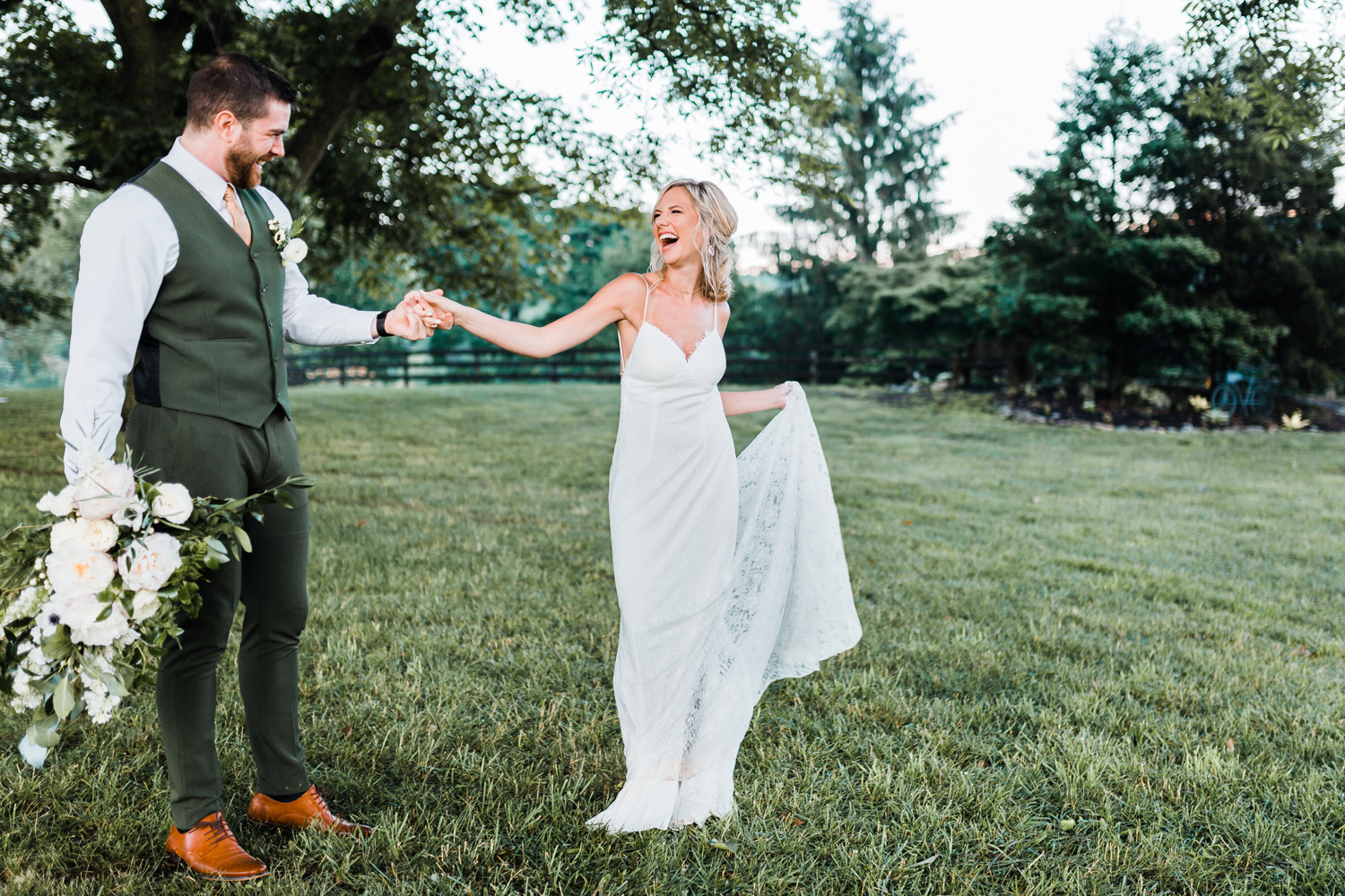bride and groom laughing together at styled shoot - montagu meadows - maryland wedding photographer