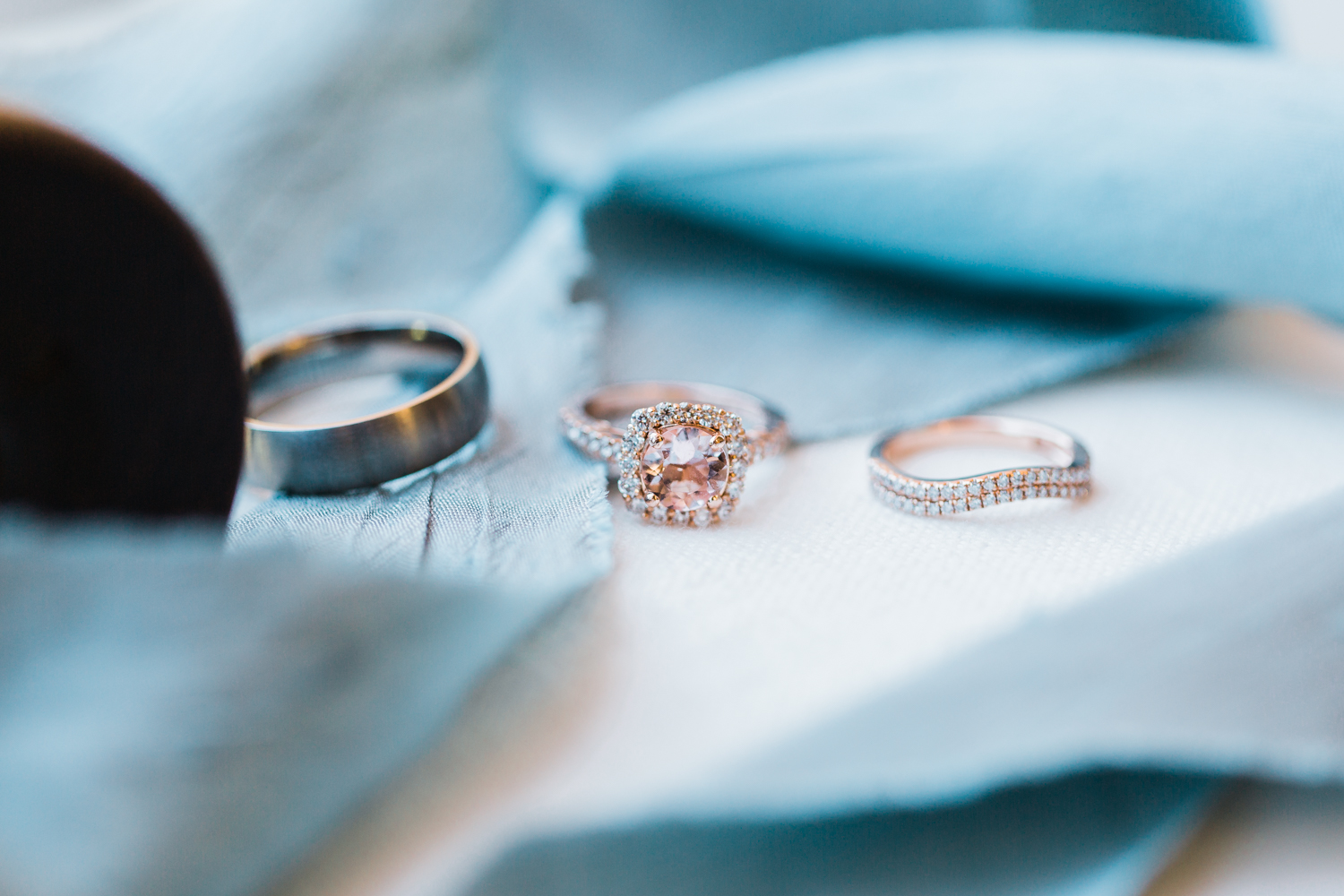 bridal details - beautiful morganite and rose gold rings - md wedding photographer and videographer