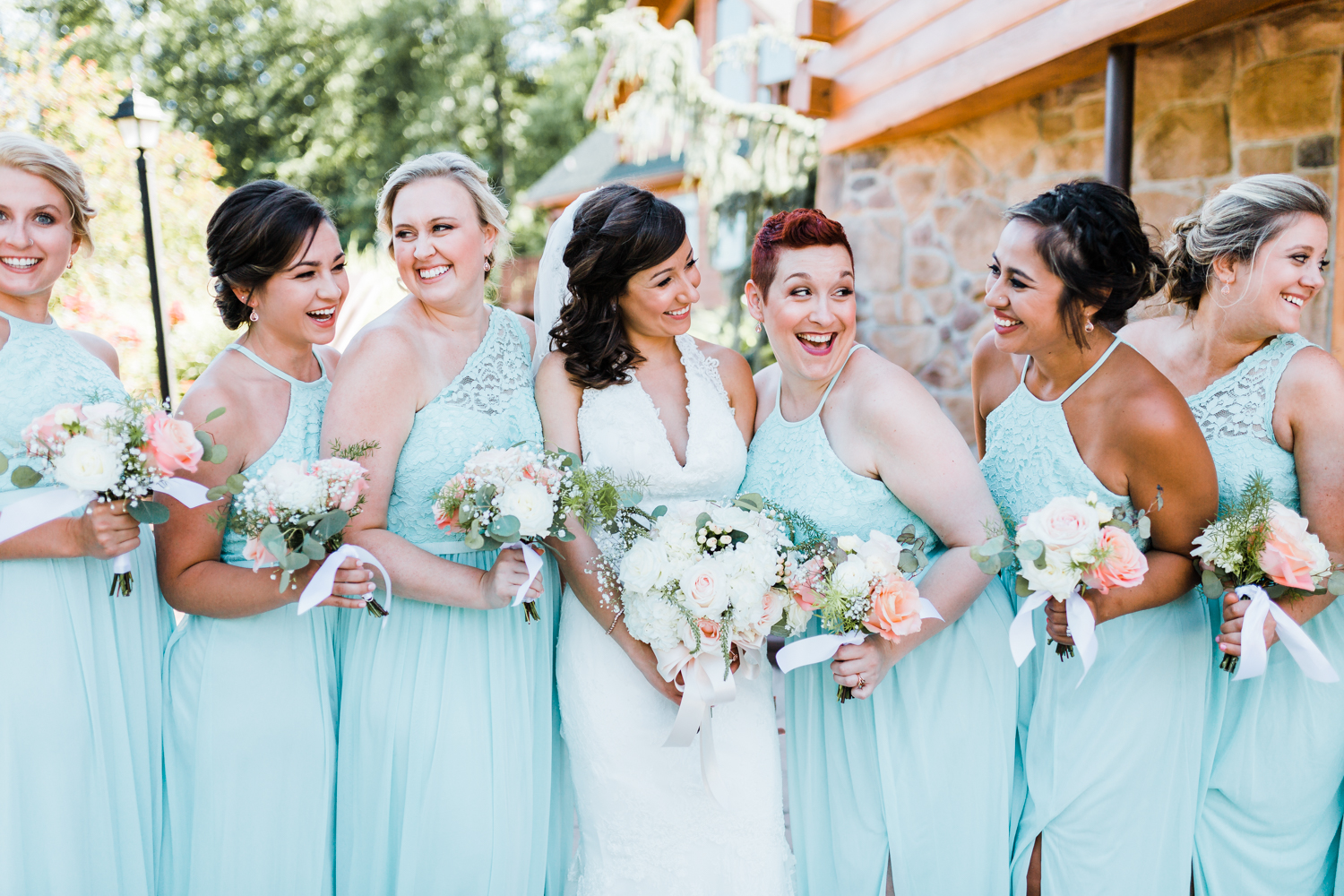 mint bridesmaids mix n match dresses - bright weddings - mountain wedding venues in MD and PA