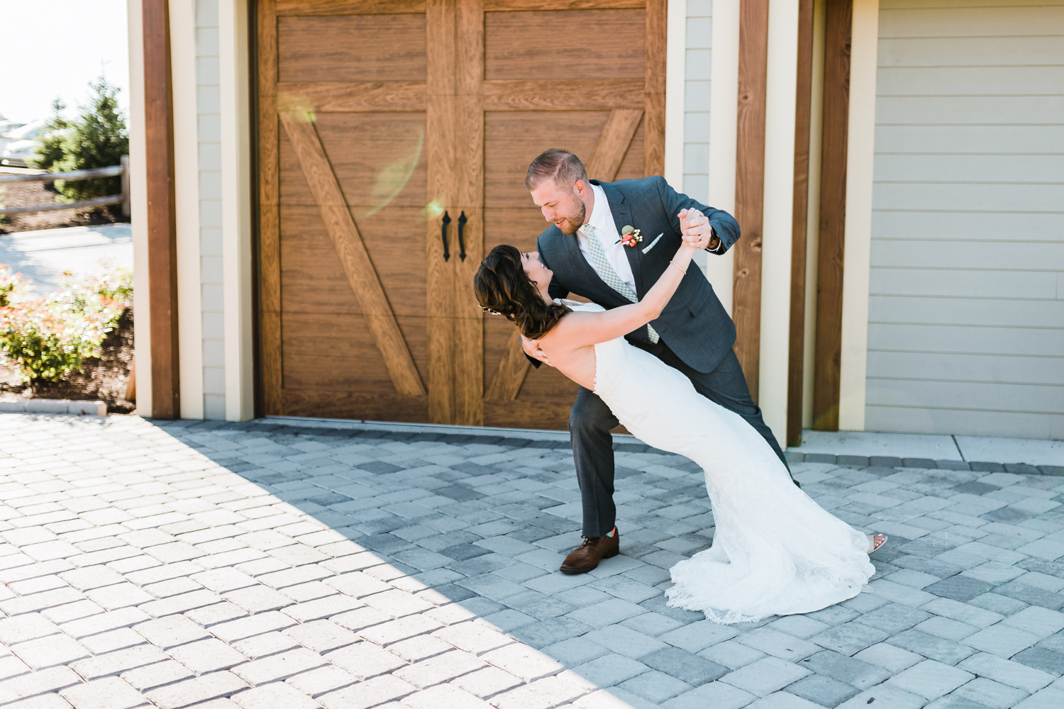 groom romantically dipping his bride - beautiful maryland wedding photography