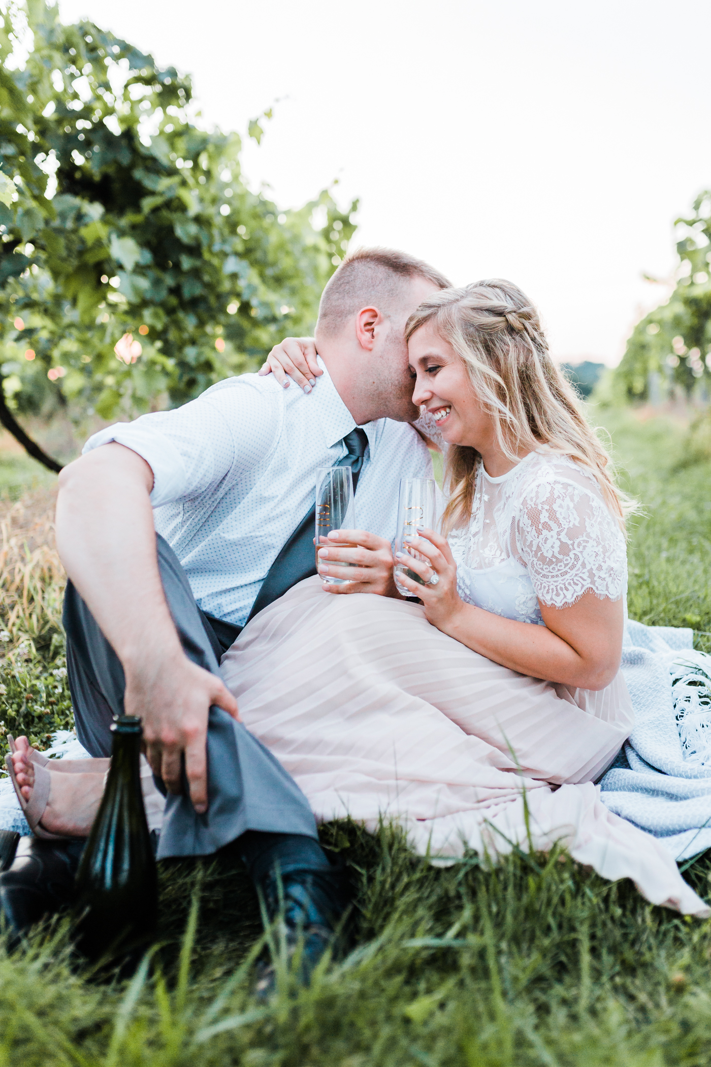 beautiful bride giggles with her groom during pennsylvania engagement session