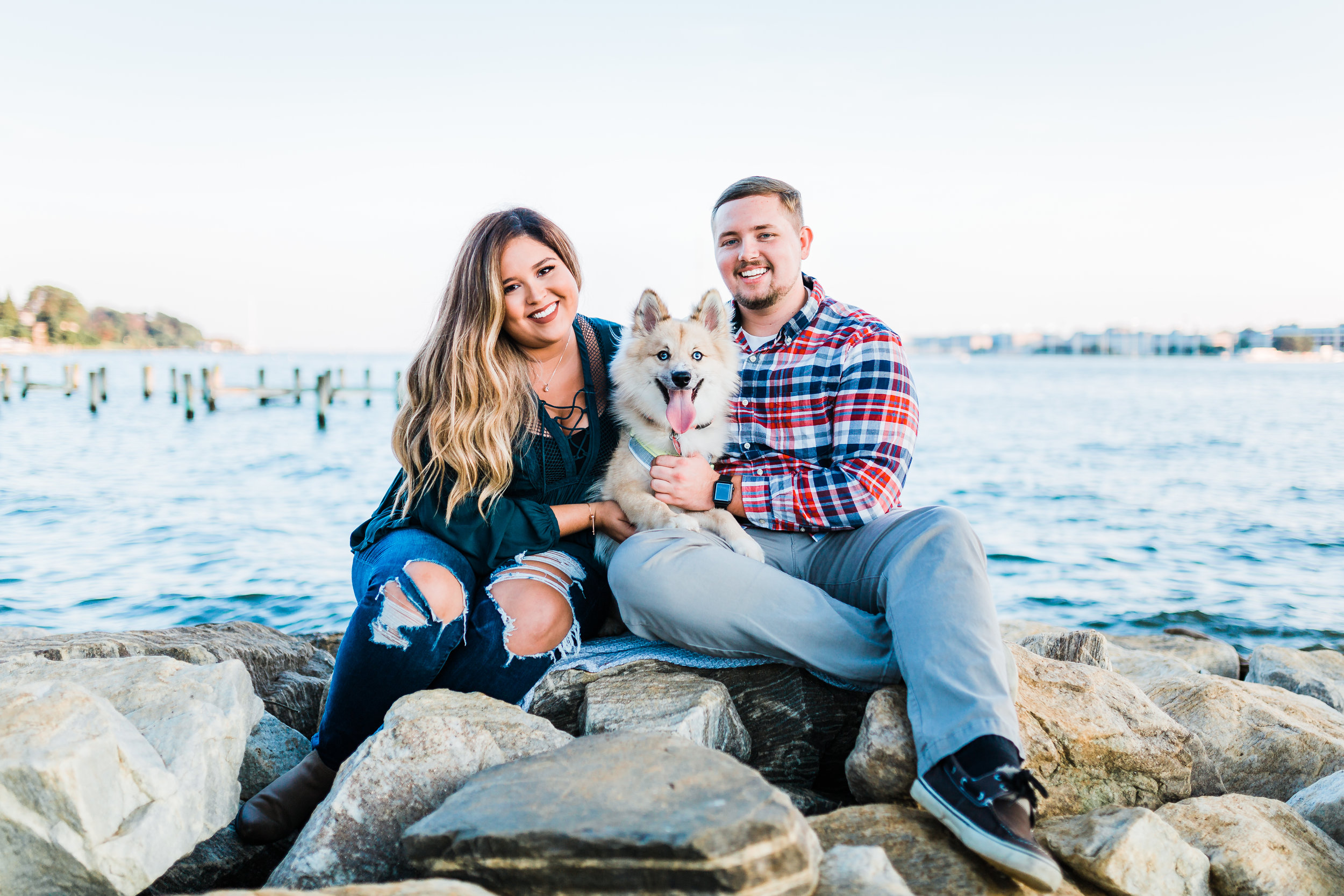 maryland engagement session with dog - top rated maryland wedding photographer