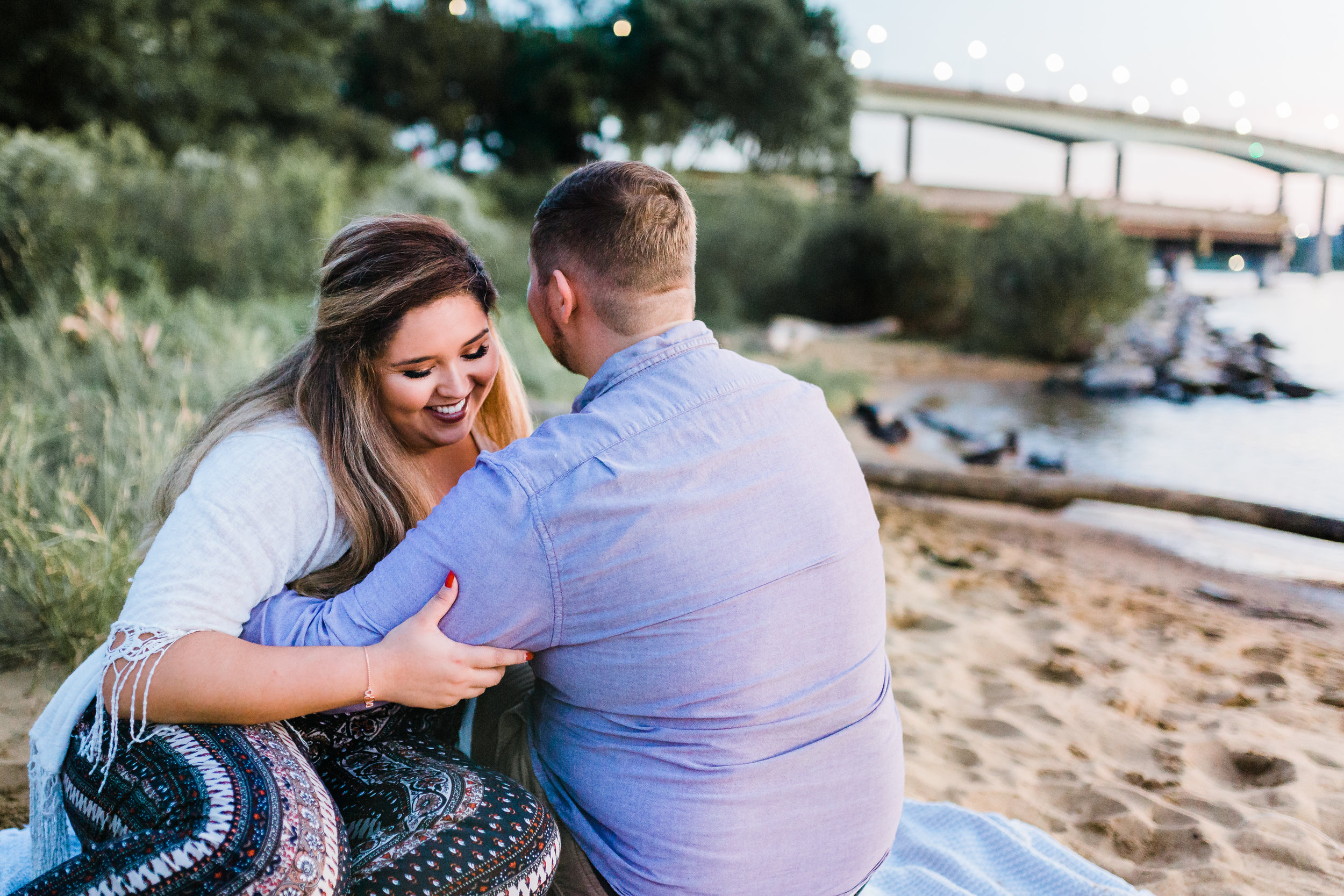 sunset beach engagement photos in annapolis md