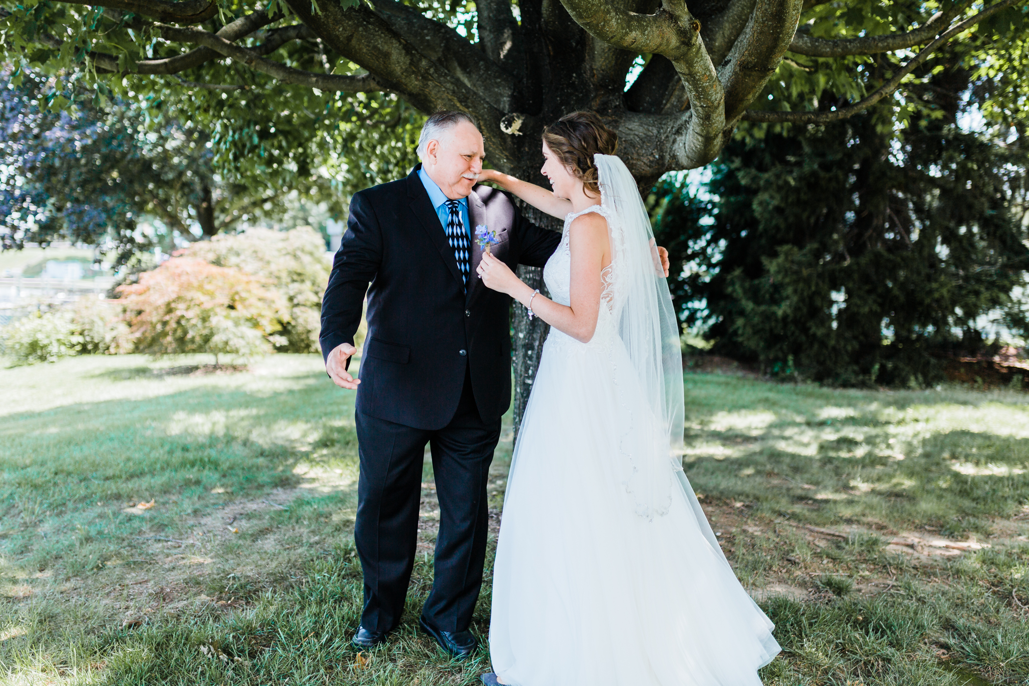 brides first look with her grandfather - baltimore wedding and engagement photographer