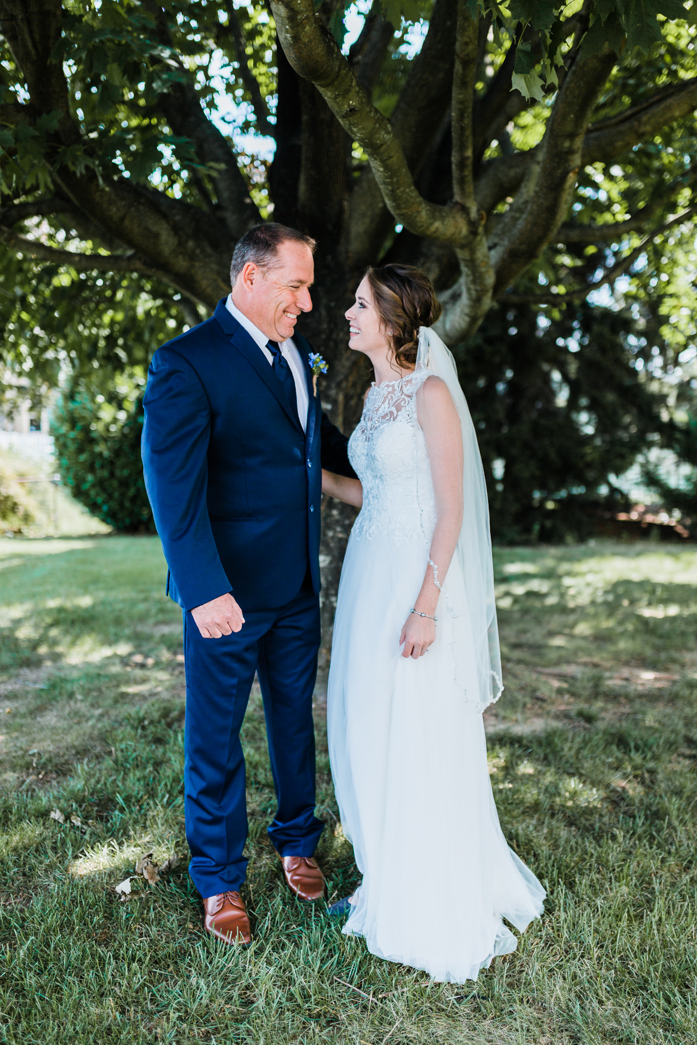 bride sharing a first look with her dad - pasadena md wedding