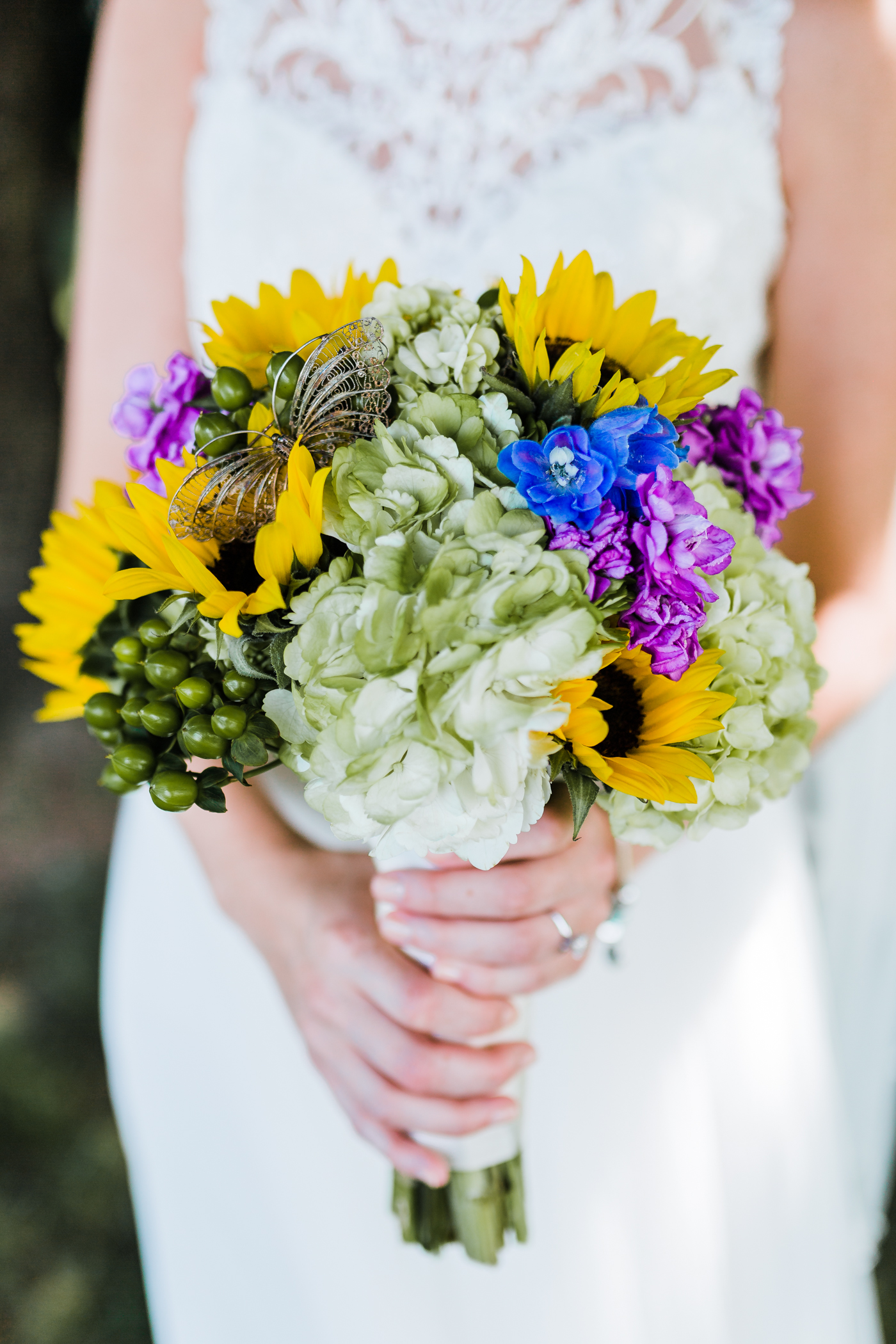 memorial butterfly in brides bouquet to remember her grandmother - maryland wedding