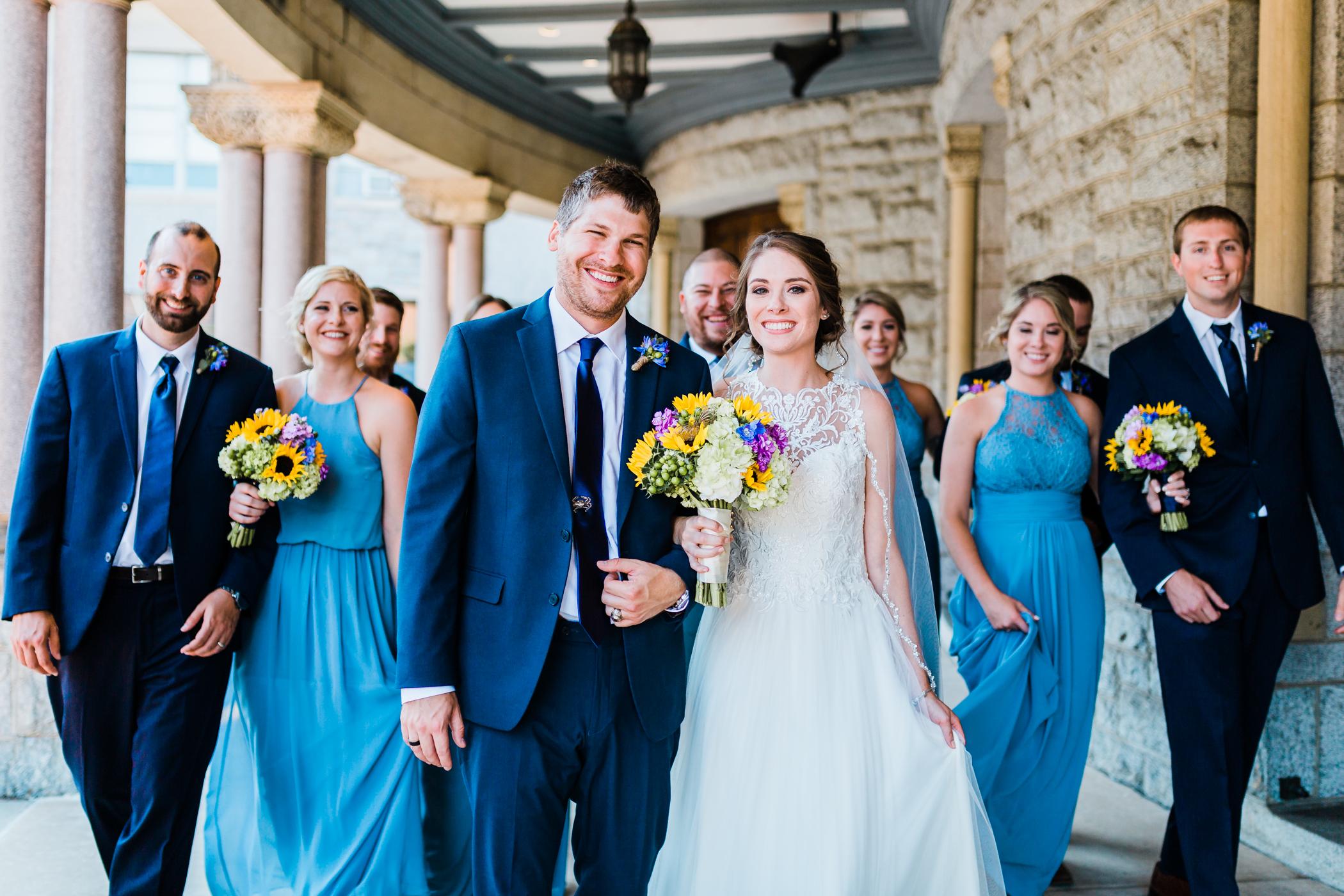 dusty blue bridesmaids dresses - sunflower bouquets - baltimore wedding photographer