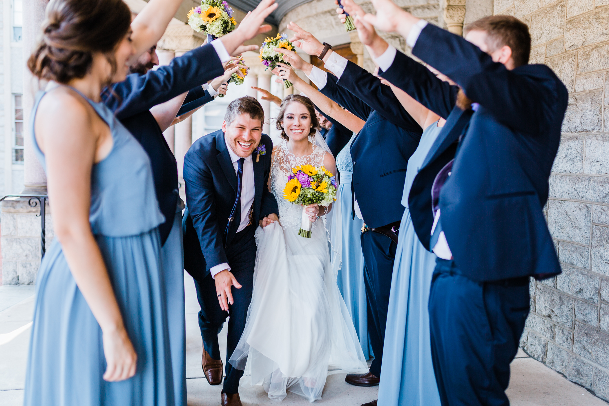 blue weddings and sunflowers - fun bridal party photos - baltimore wedding photographer