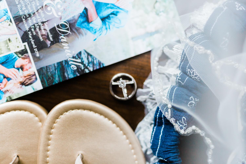 Maryland wedding photographer - bridal details - rings - invites