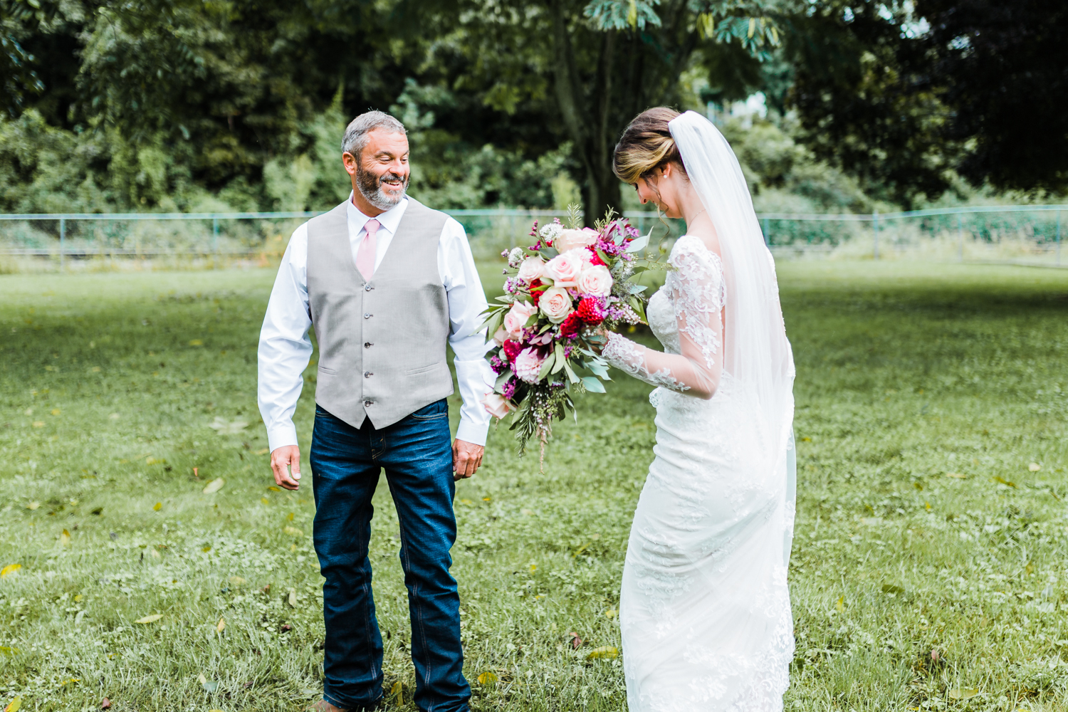 Maryland wedding photo and video - husband and wife team - bride and dad first look