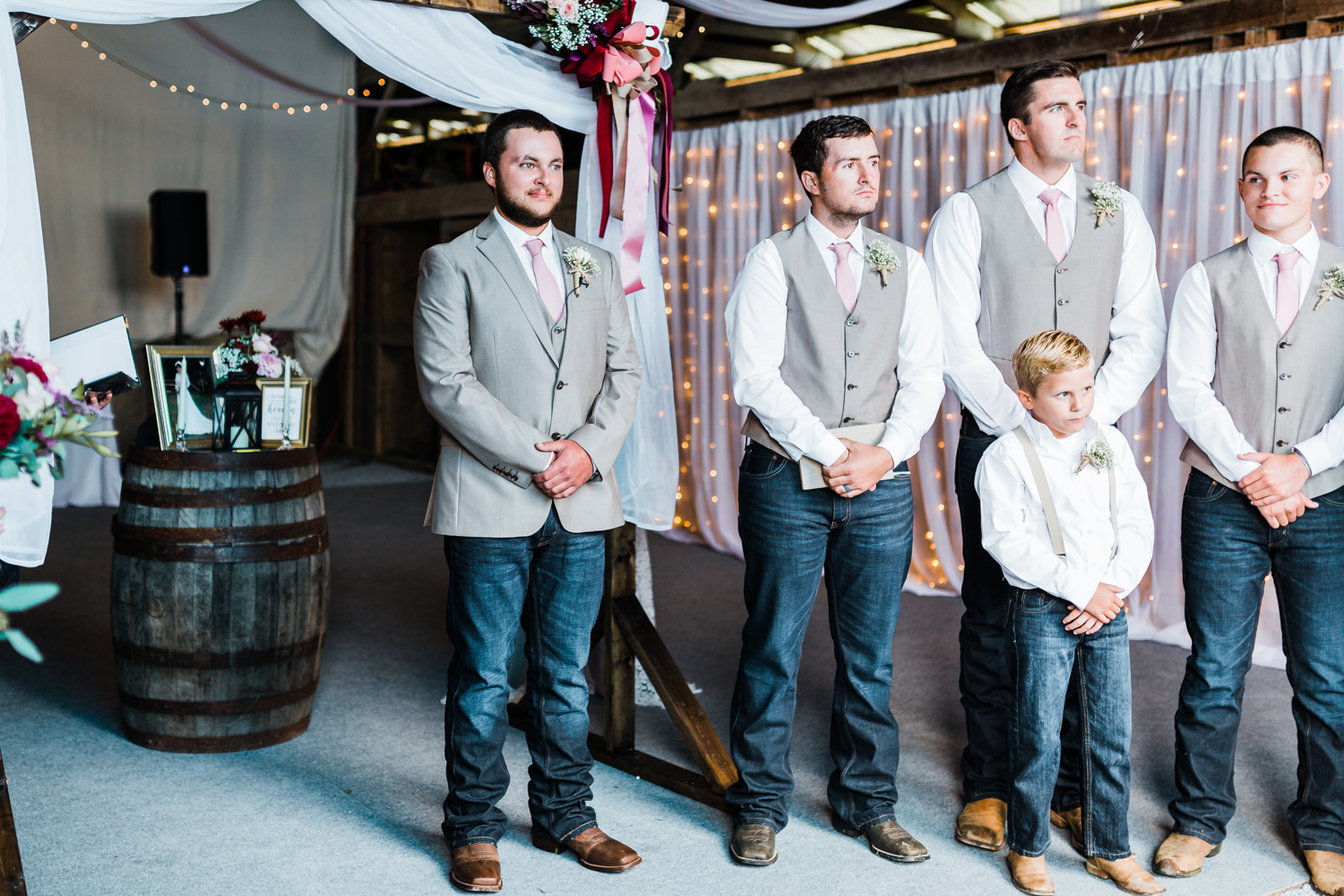 groom waits for his bride coming down the aisle - Carroll County, MD wedding photographer