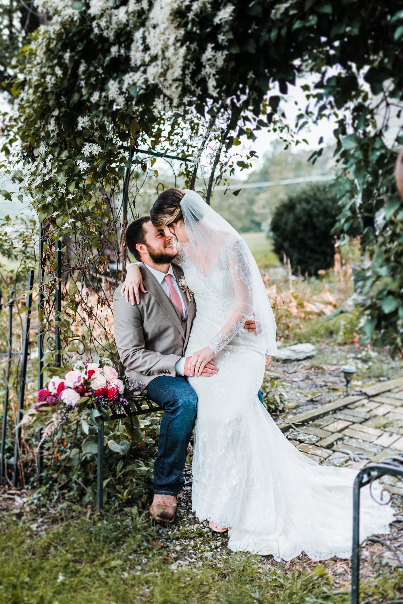 bride and groom in garden setting