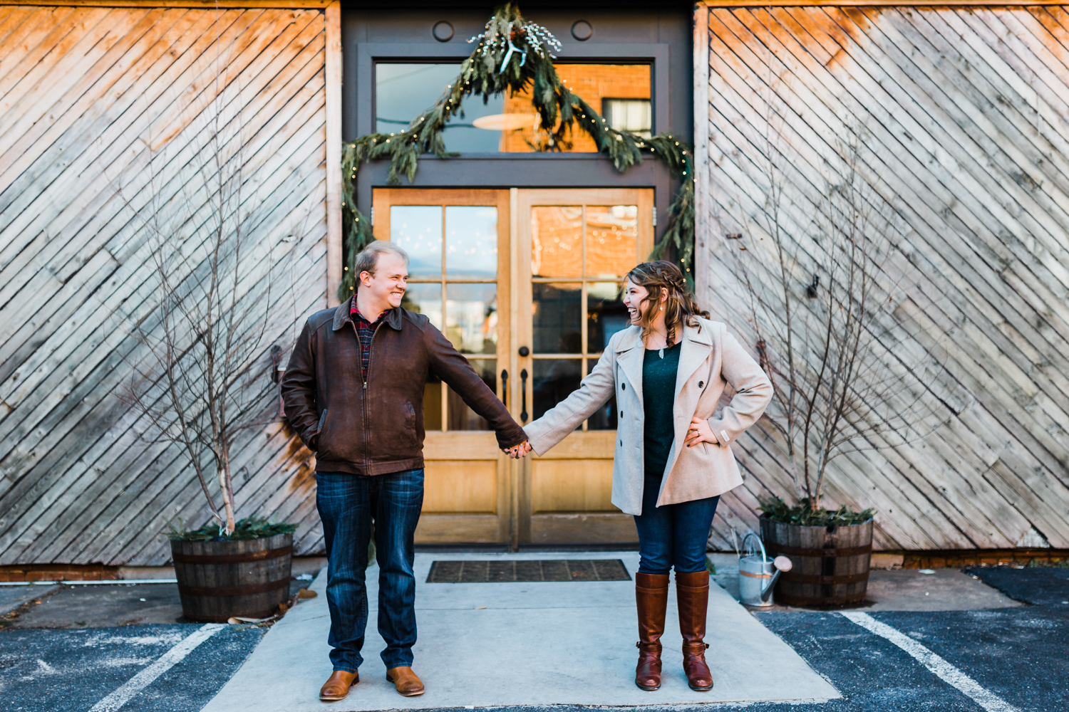 christmas engagement session in Frederick, MD - winter engagement session inspo - McClintock Distilery