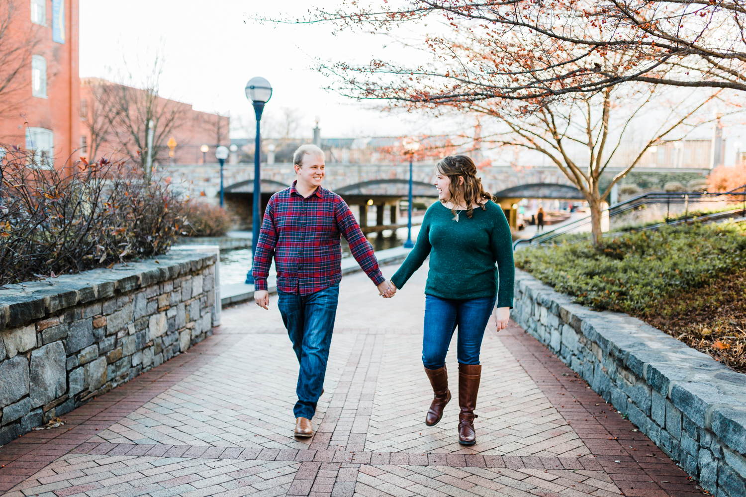 couple walking - carroll creek frederick maryland engagement session