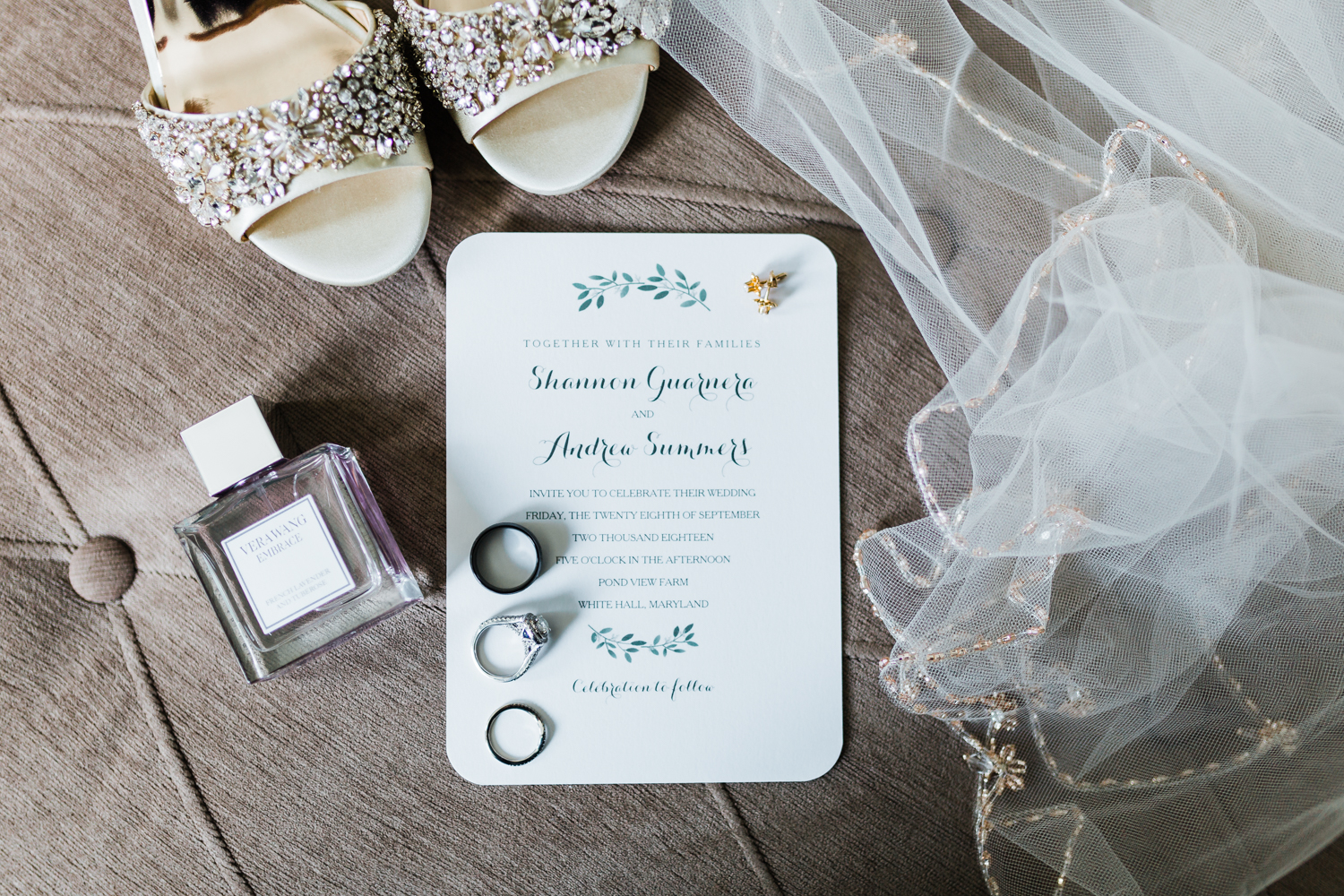 bridal details, bridal perfume, wedding invitation suite ideas - Maryland Wedding photo and video
