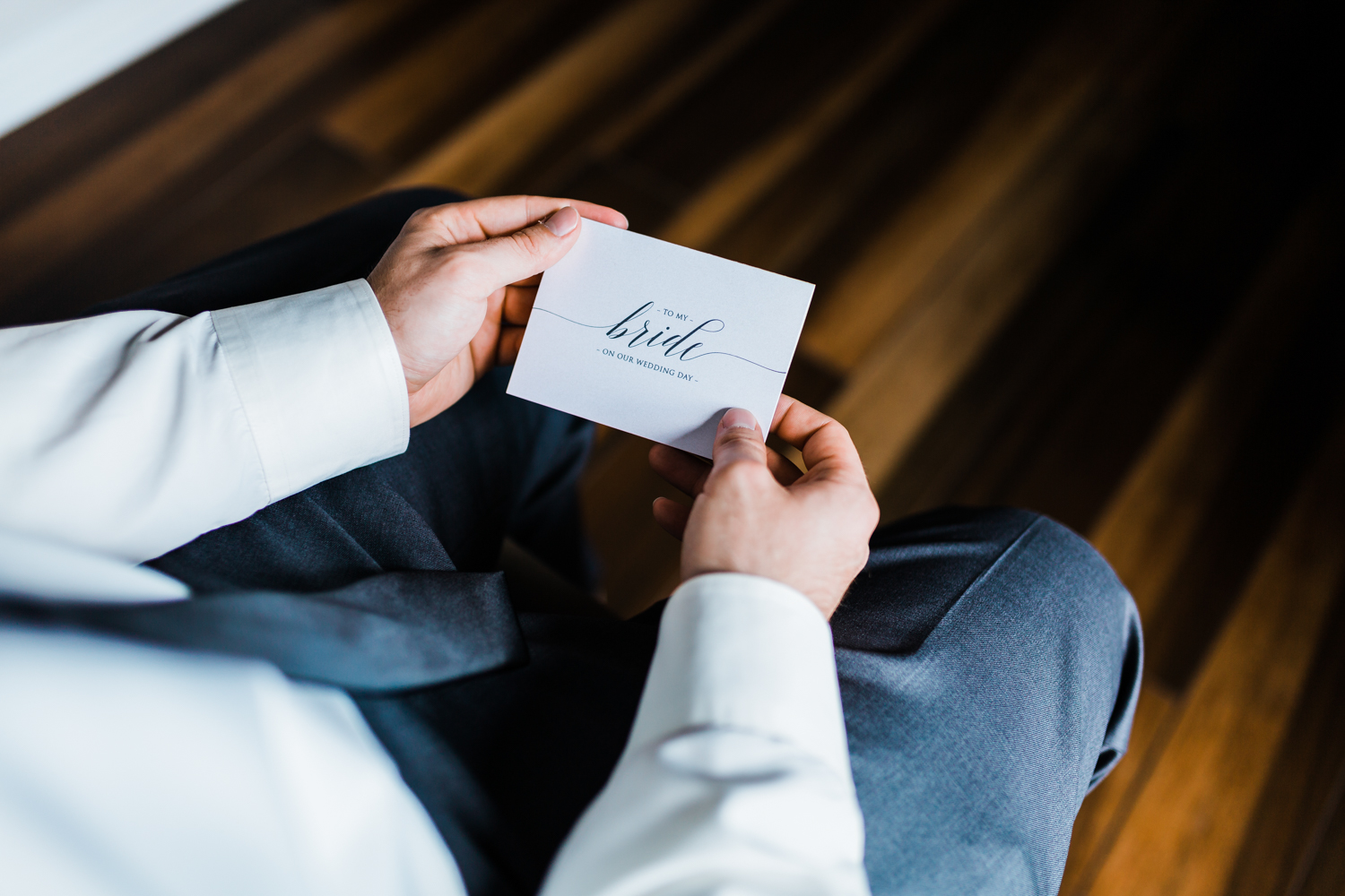 Groom reading his letter to his bride - Pond View Farm wedding - Maryland wedding photographer and cinematographer
