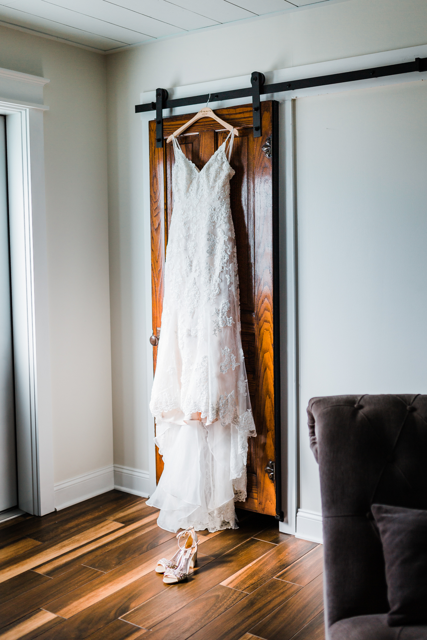 wedding dress details at Pond View Farm in Maryland