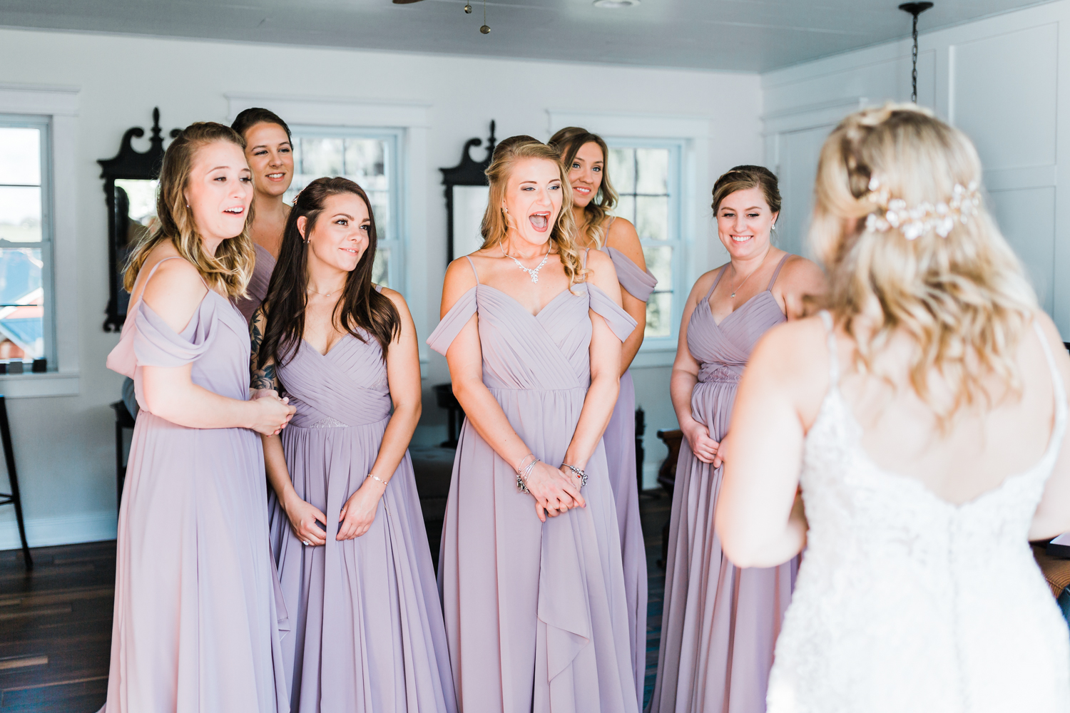 bridesmaids seeing their friend ready for the first time - bridesmaids reaction