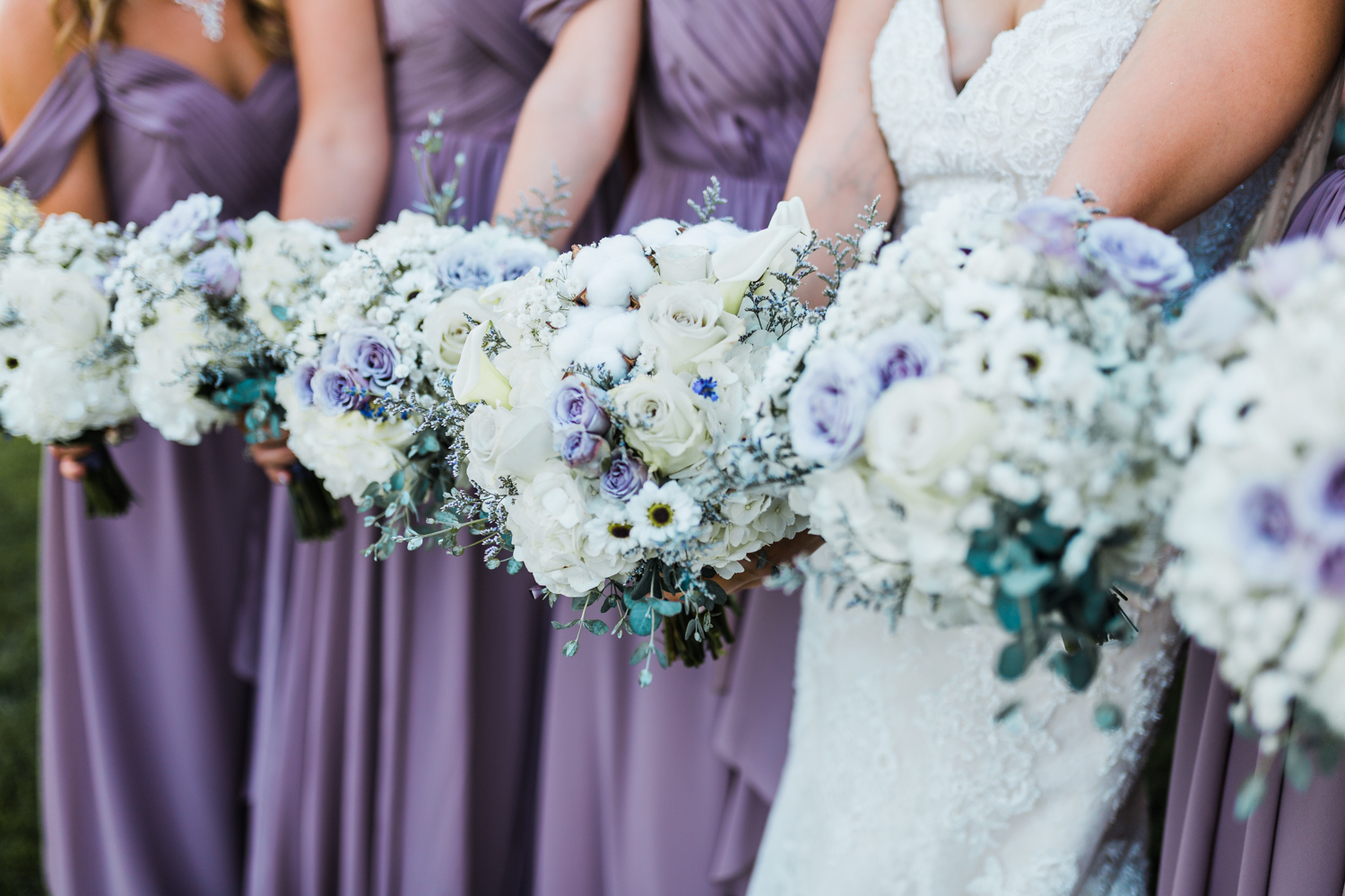 Maryland bridesmaids with bouquets - MD wedding cinematographer