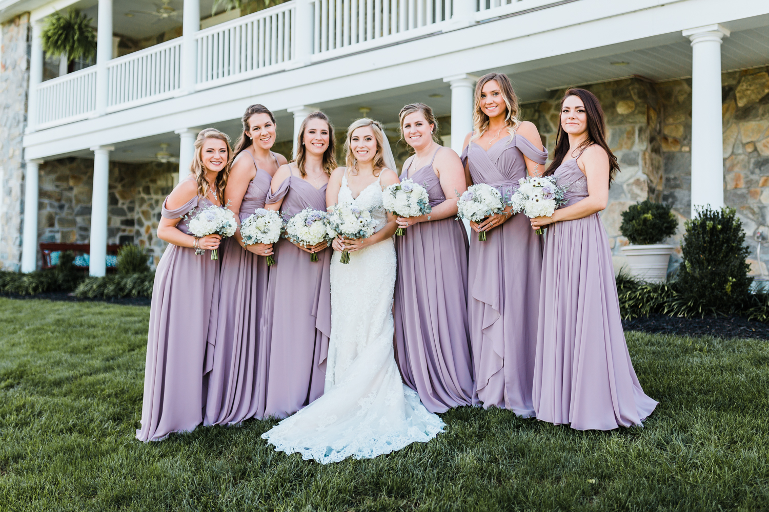 Bridesmaids with bride group - Pond View Farm Maryland
