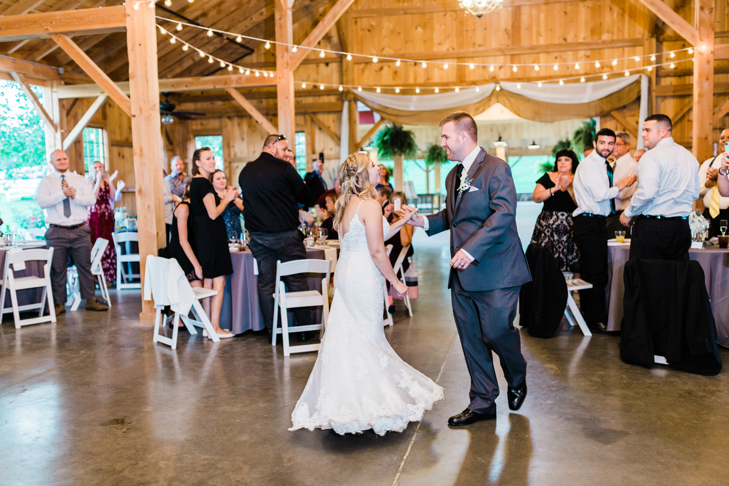 Bride and Groom introduced in to their reception - Pond View Farm Wedding