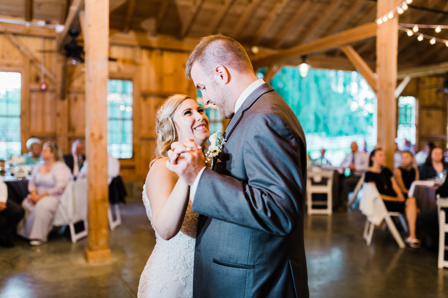 Bride and Groom share their first dance at Pond View Farm in White Hall, MD - best wedding photographer in Maryland