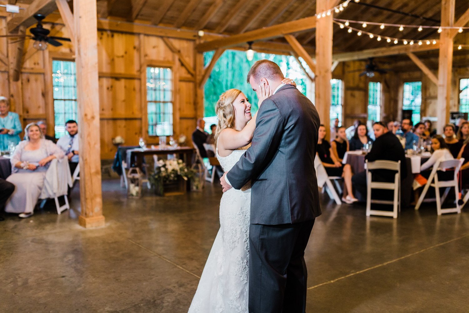 Rustic wedding venues in Maryland - Bride and Groom first dance - Maryland wedding photo and video