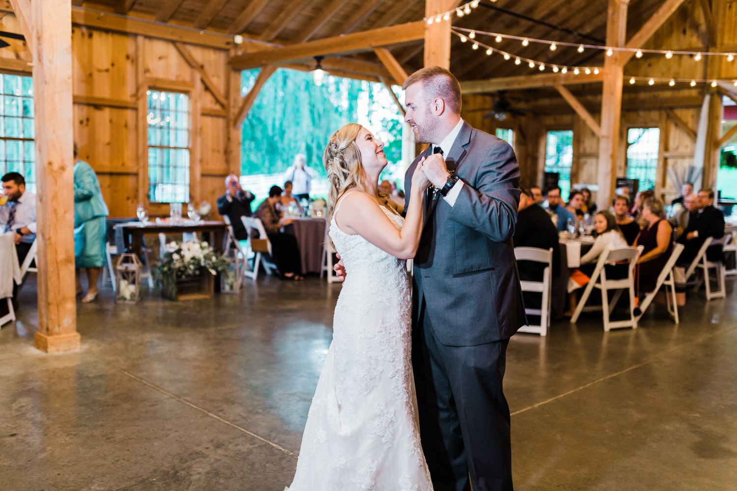 Bride and Groom first dance Rustic wedding venue - Pond View Farm - top rated Maryland wedding photographer