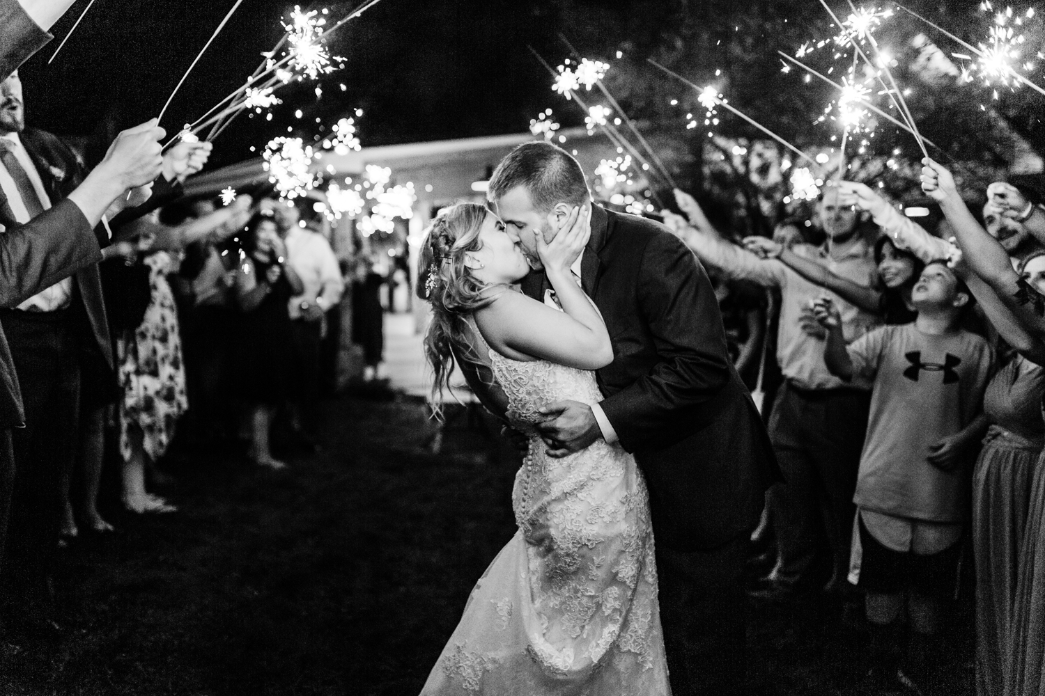 Sparkler exit Maryland wedding - Pond View Farm