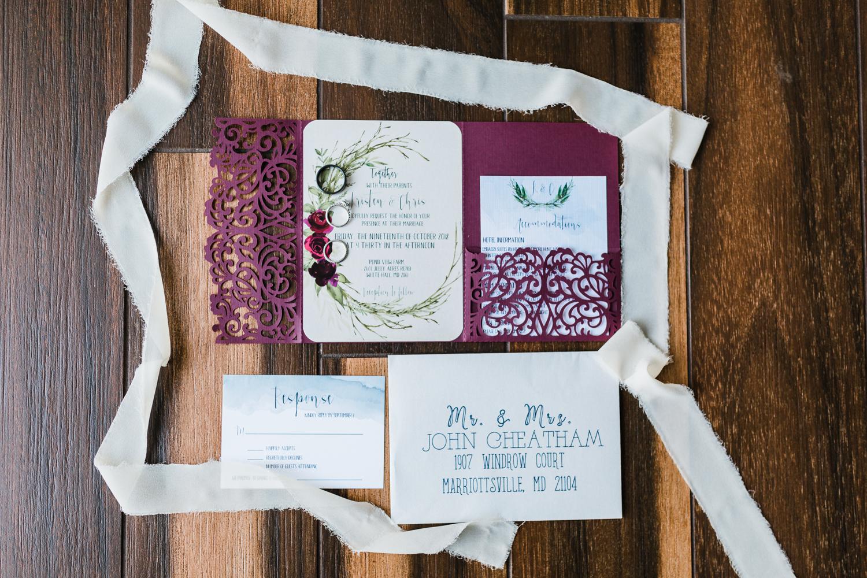 Bridal details, silk ribbon invites, pond view farm